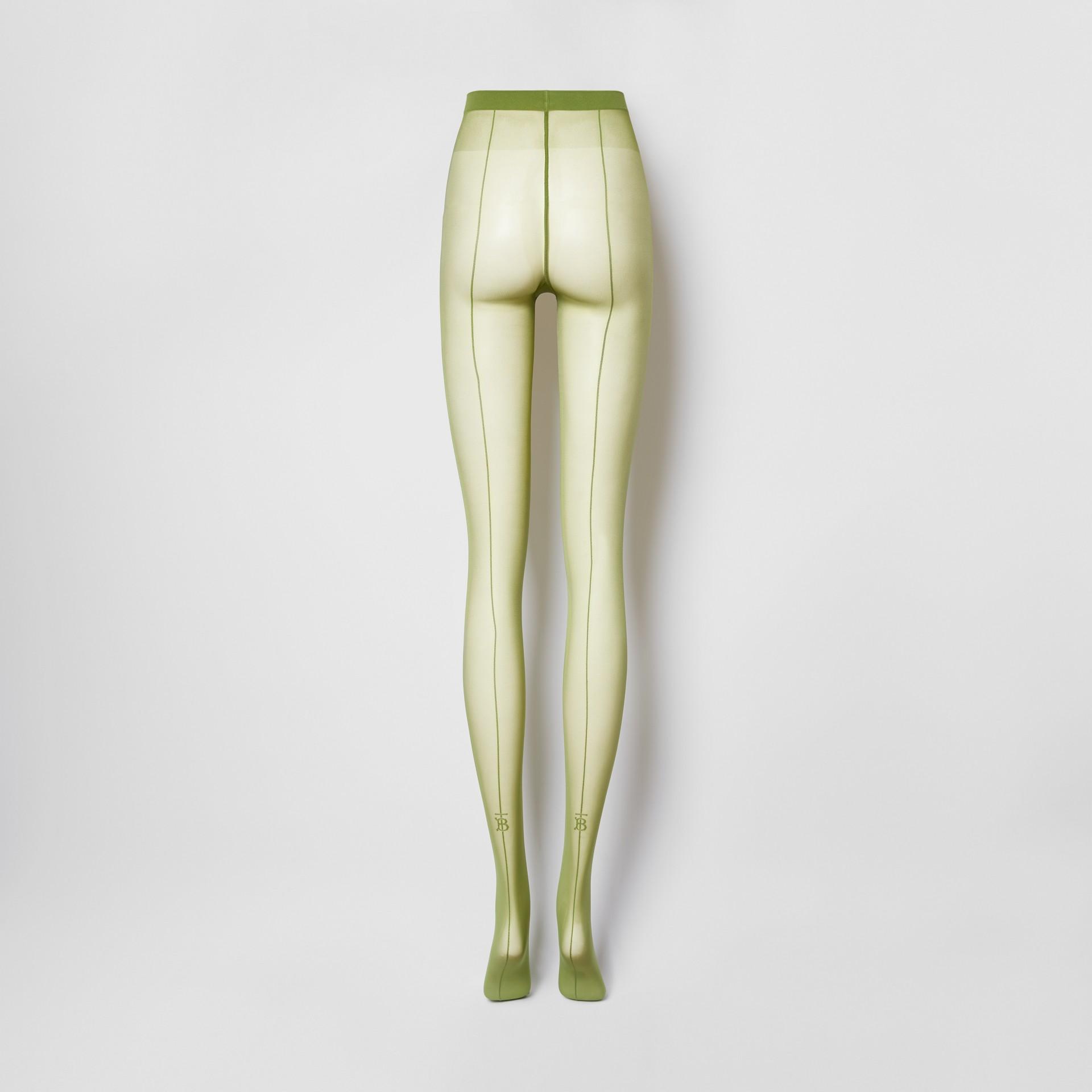 Monogram Motif Seamed Tights in Cedar Green - Women | Burberry Singapore - gallery image 4
