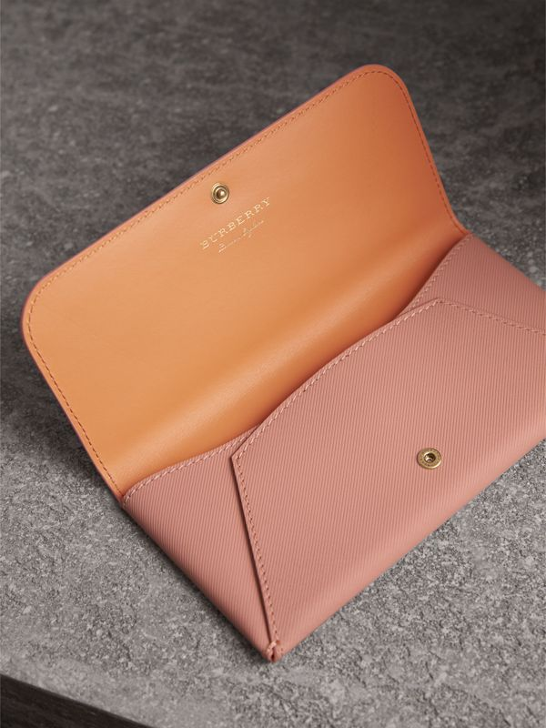 Trench Leather Envelope Wallet in Ash Rose/pale Clementine - Women | Burberry - cell image 3