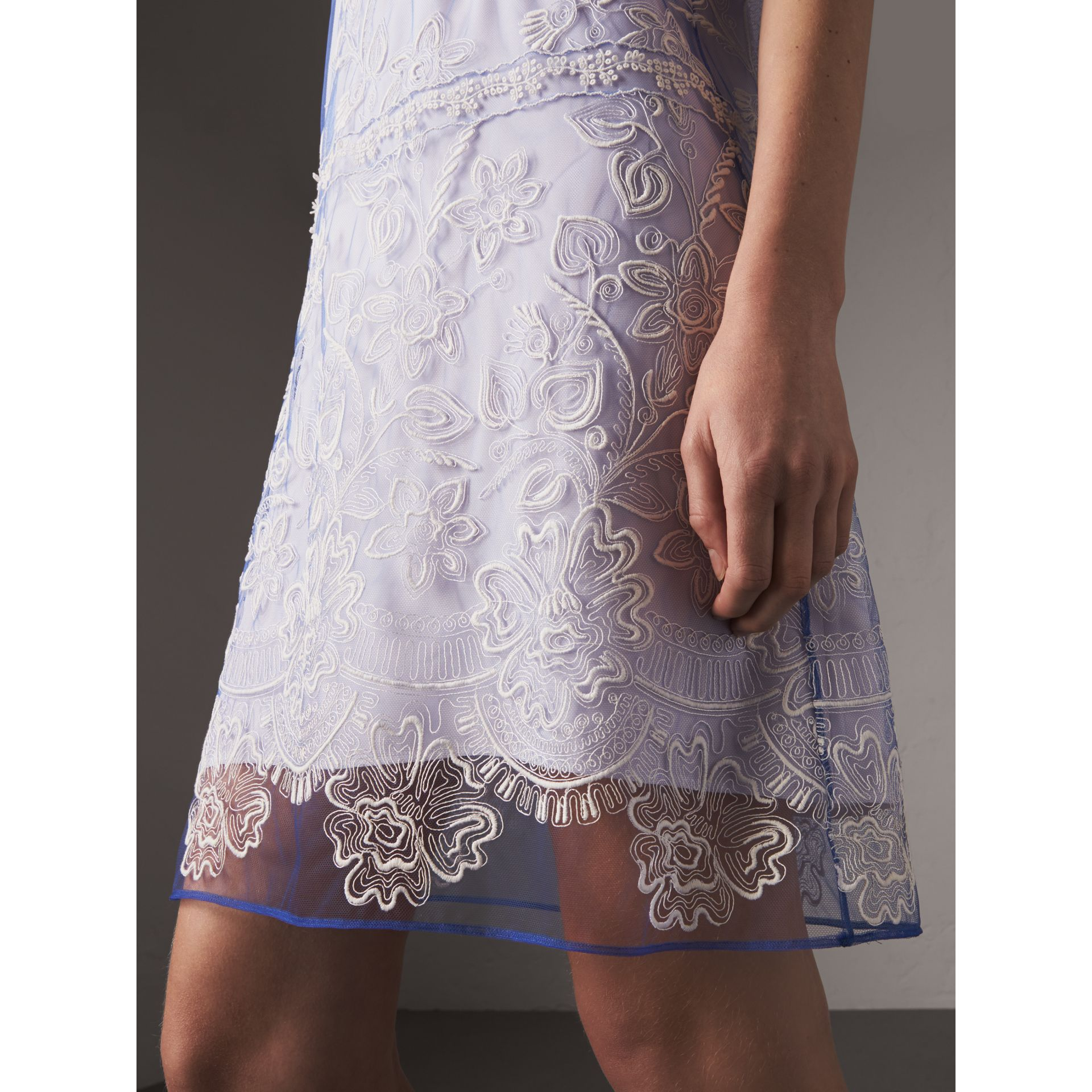 Floral-embroidered Tulle T-shirt Dress in Hydrangea Blue/white - Women | Burberry Canada - gallery image 1
