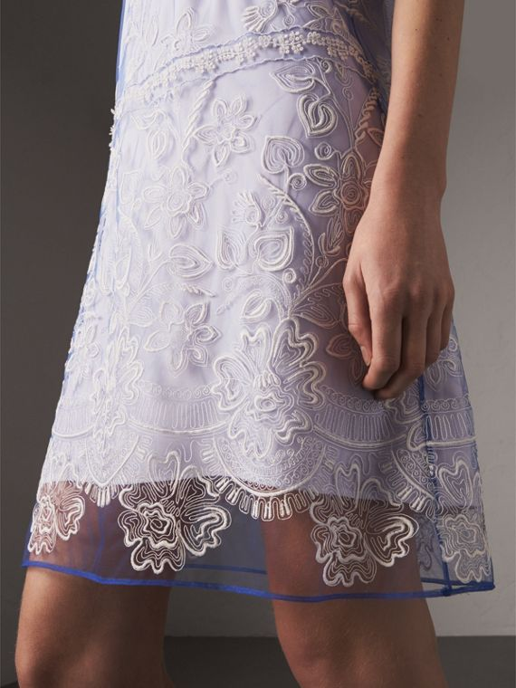 Short-sleeve Embroidered Tulle T-shirt Dress in Hydrangea Blue/white