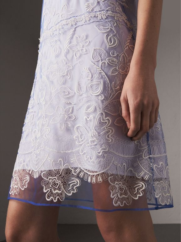 Floral-embroidered Tulle T-shirt Dress in Hydrangea Blue/white - Women | Burberry - cell image 1