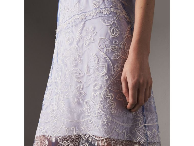 Floral-embroidered Tulle T-shirt Dress in Hydrangea Blue/white - Women | Burberry Singapore - cell image 1