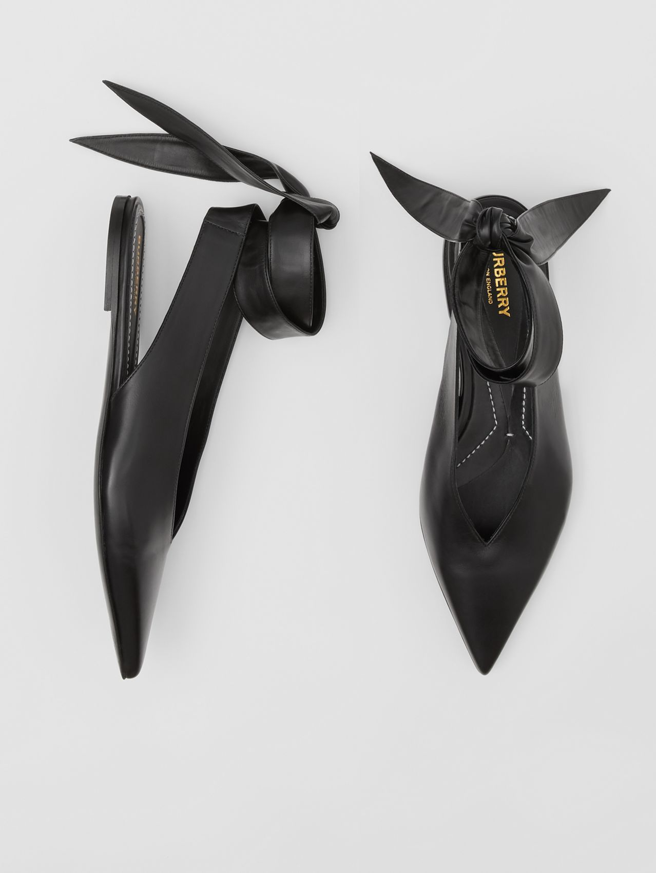 Tie Detail Leather and Lambskin Point-toe Mules in Black