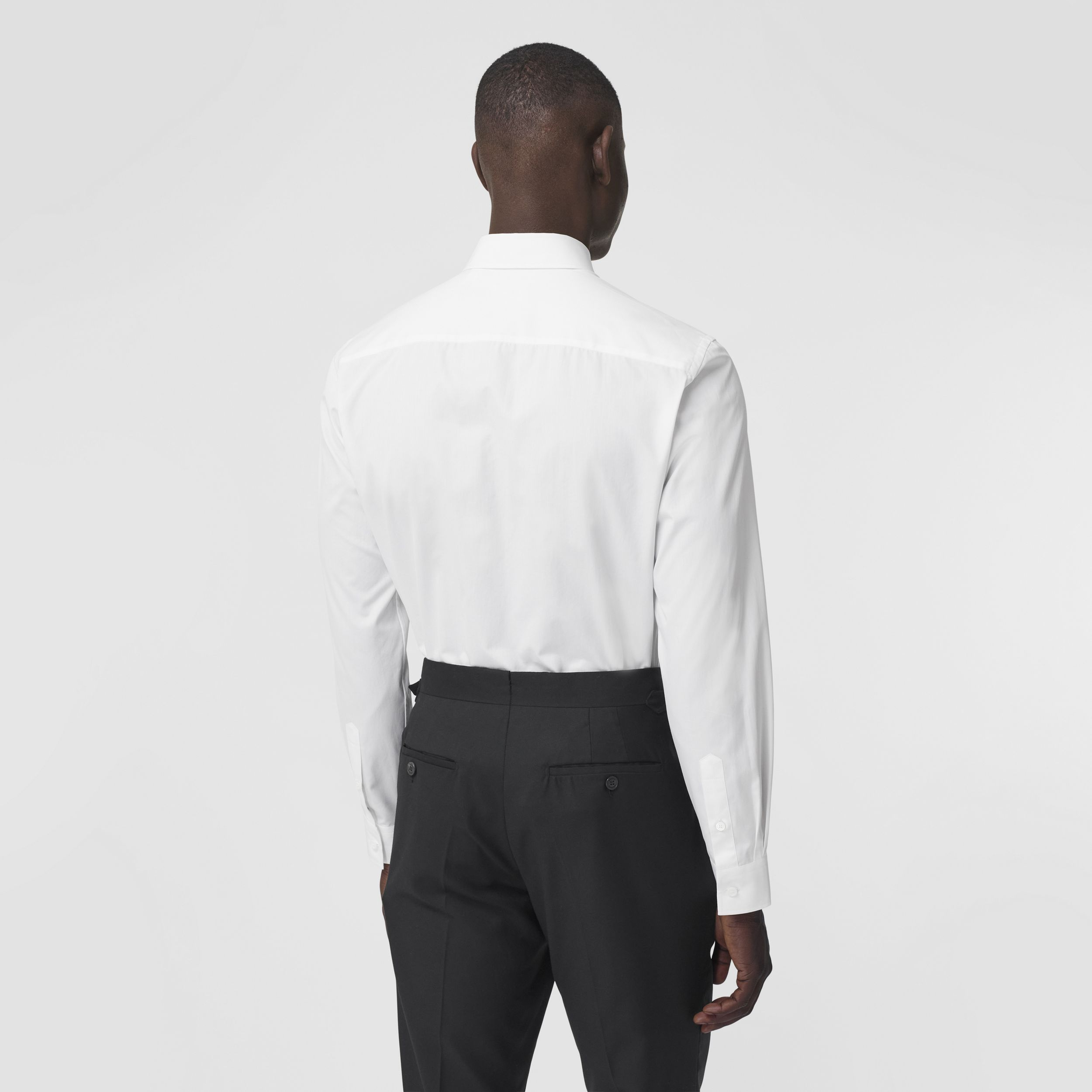 Slim Fit Resin Pearl Detail Cotton Shirt in White - Men | Burberry - 3