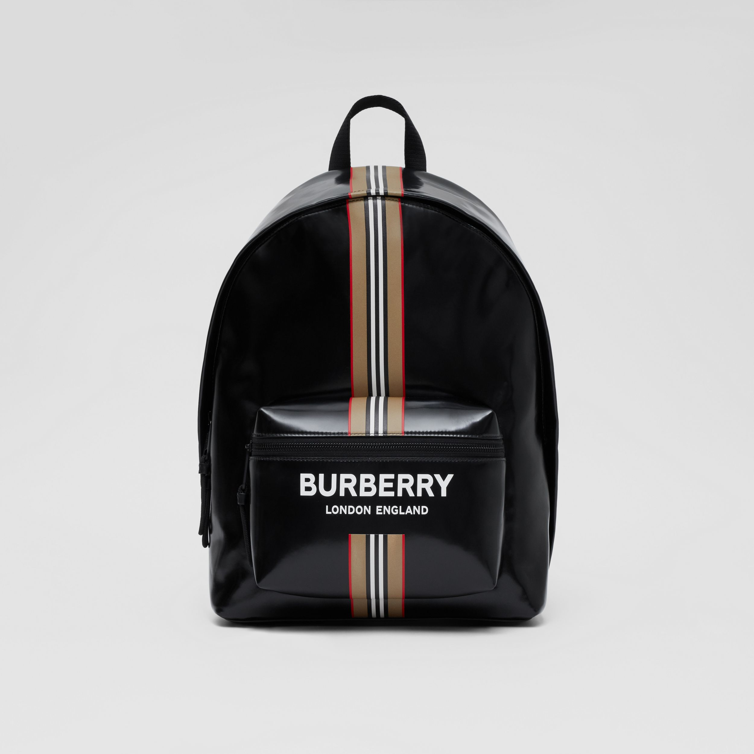 Logo and Icon Stripe Print Backpack in Black - Men | Burberry - 1