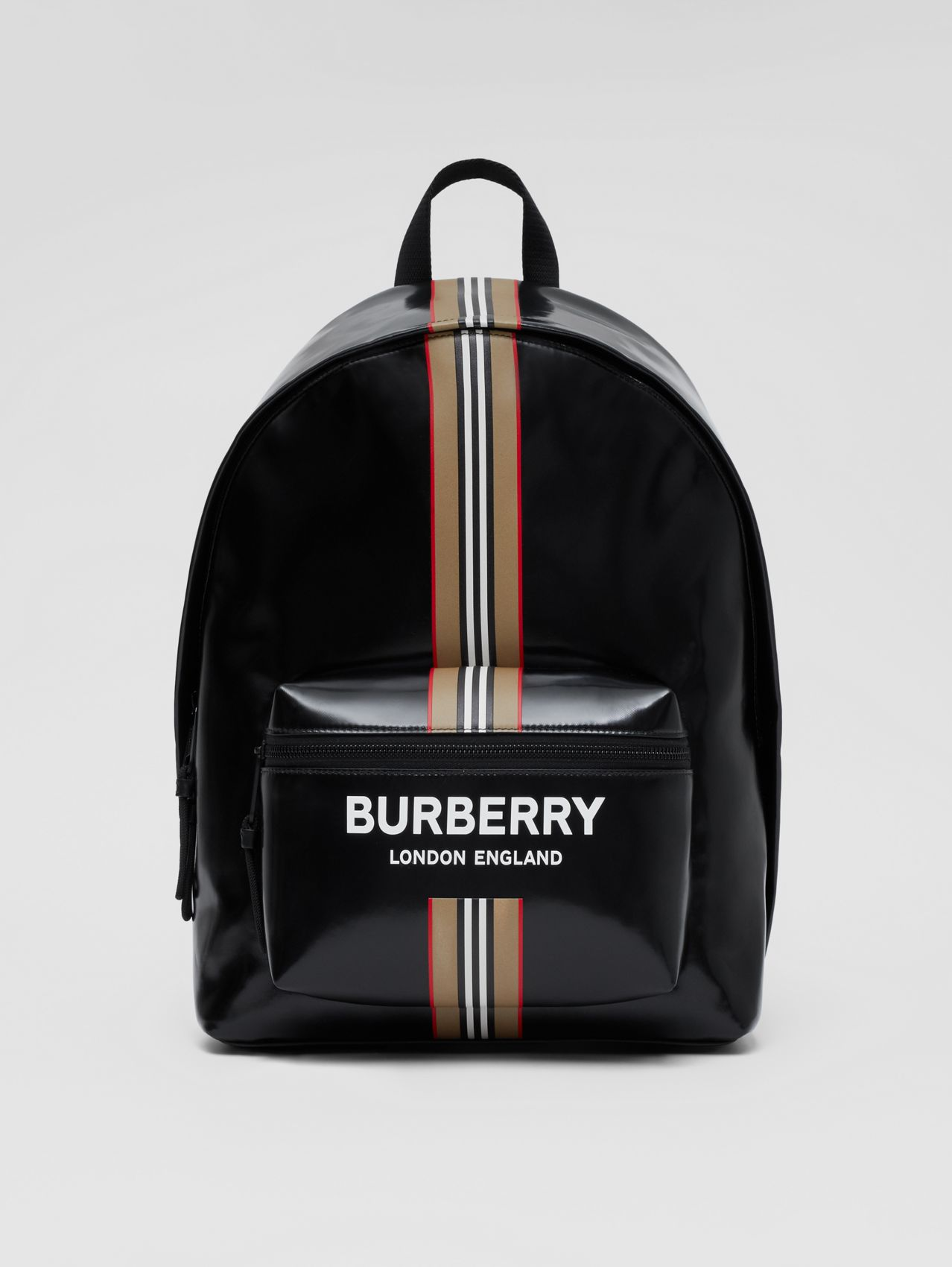 Logo and Icon Stripe Print Backpack in Black
