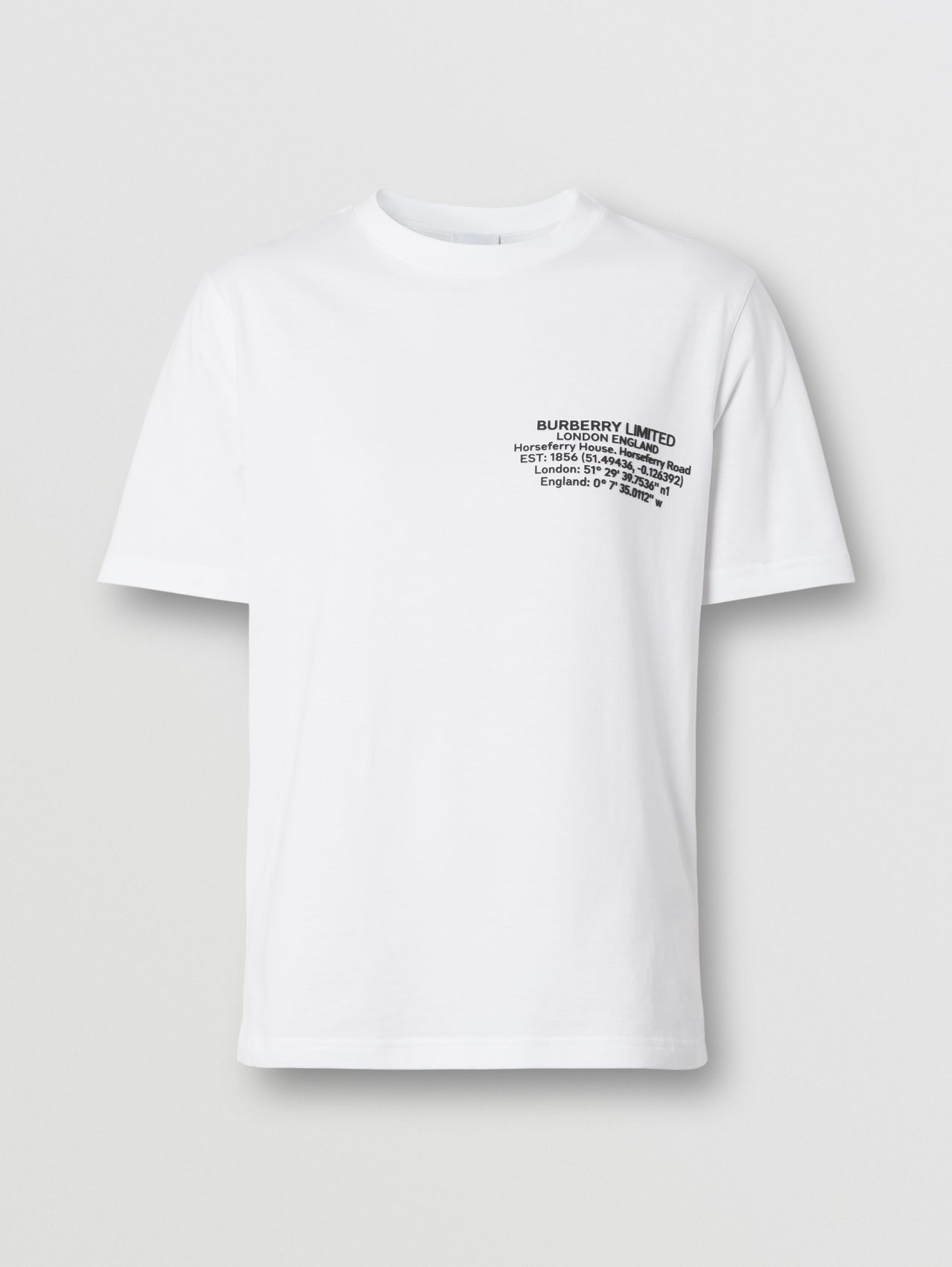 Location Print Cotton T-shirt in White