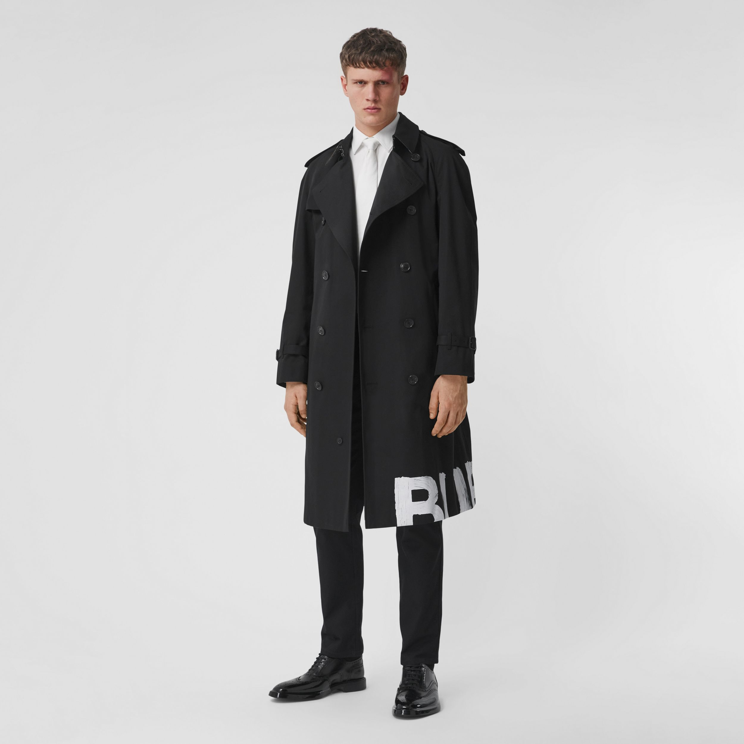 Logo Print Cotton Gabardine Trench Coat in Black - Men | Burberry - 1