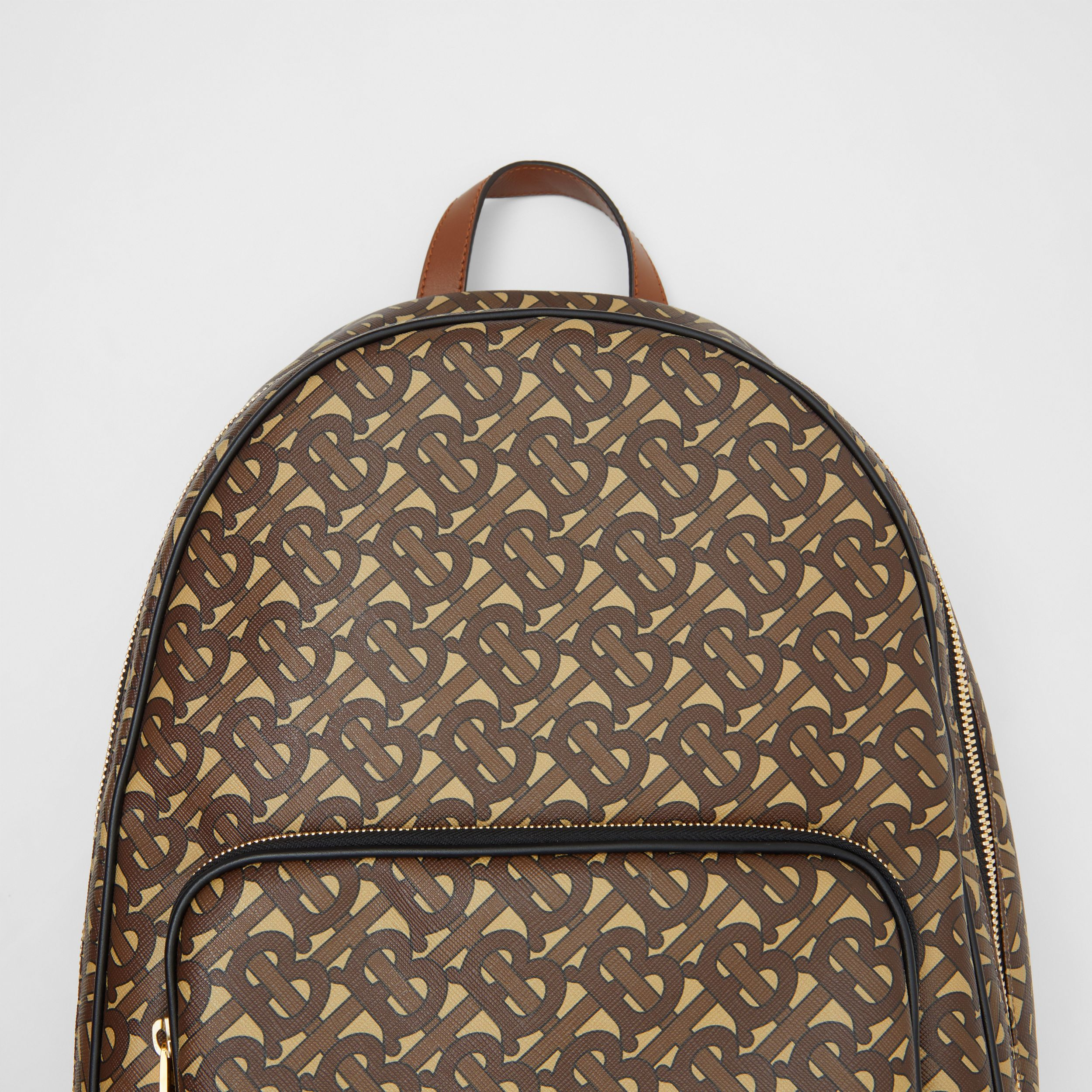 Monogram Print E-canvas and Leather Backpack in Bridle Brown - Men | Burberry - 2