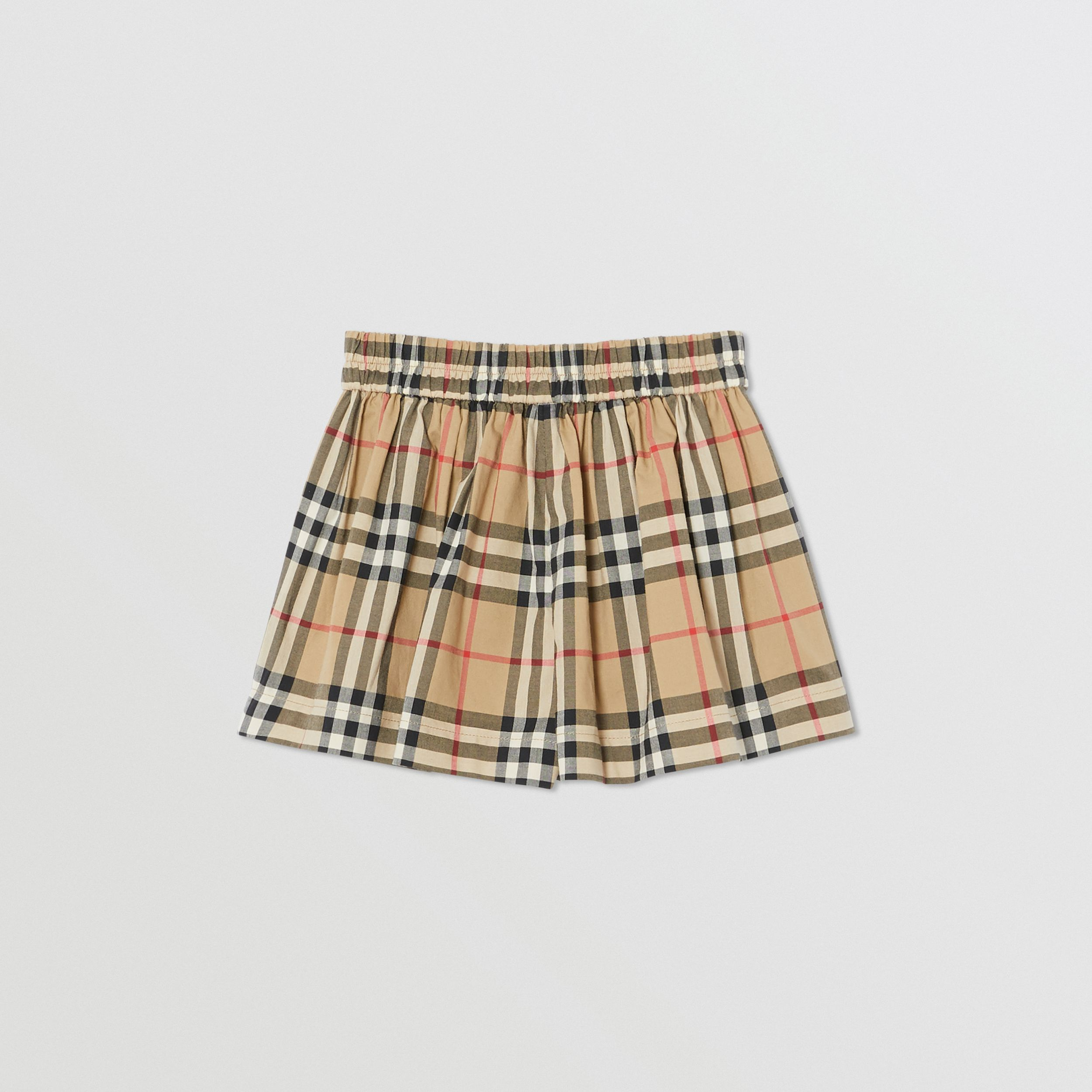 Vintage Check Gathered Cotton Shorts in Archive Beige | Burberry - 4
