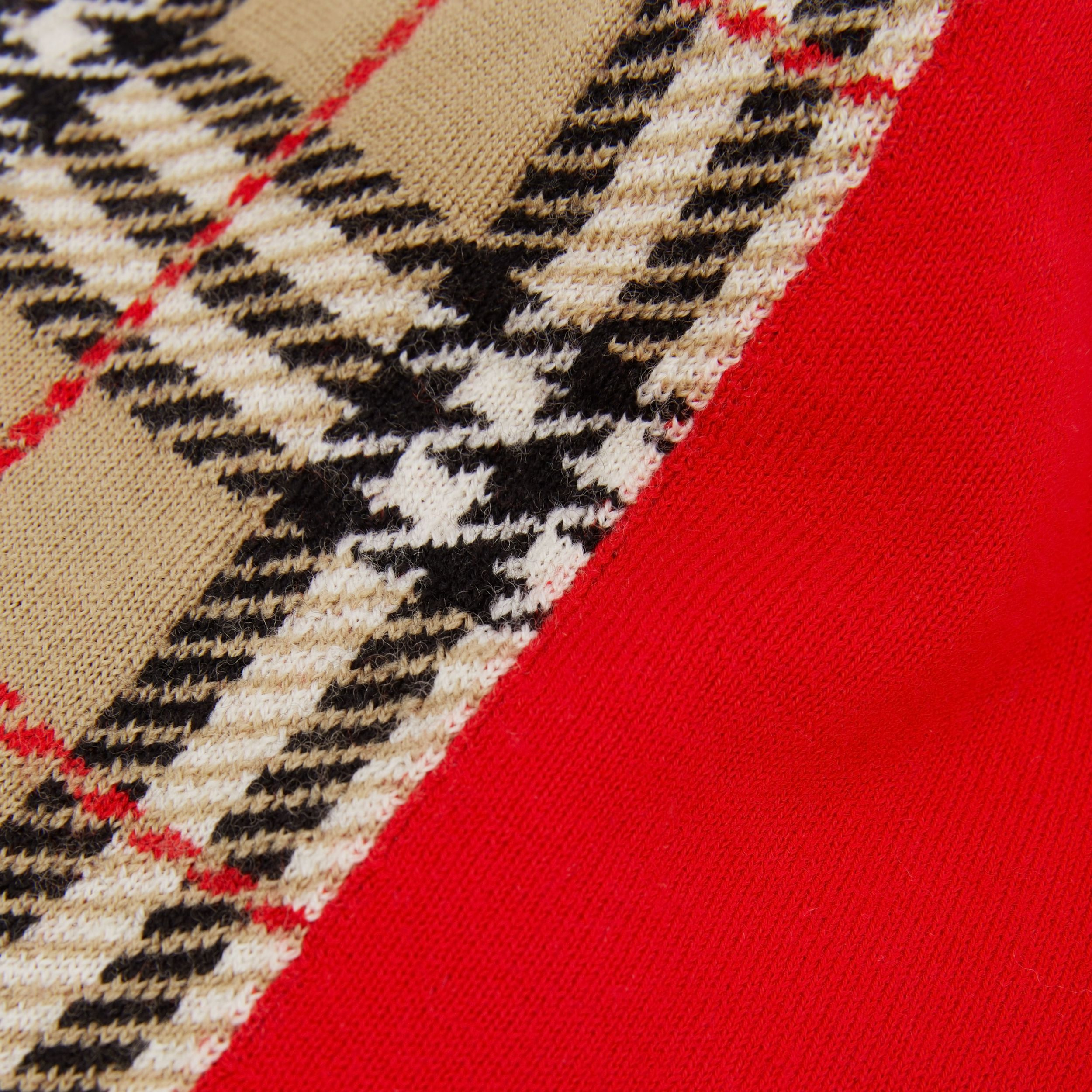 Colour Block Check Merino Wool Jacquard Beanie in Bright Red - Children | Burberry - 2