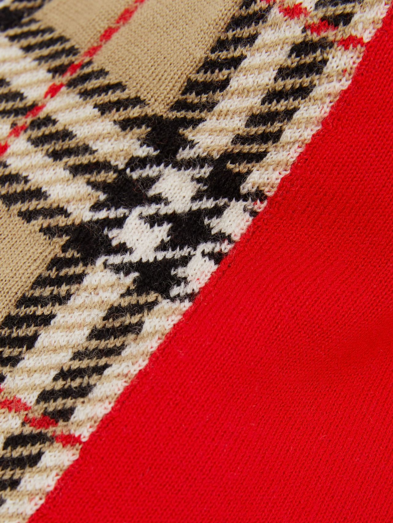 Colour Block Check Merino Wool Jacquard Beanie in Bright Red