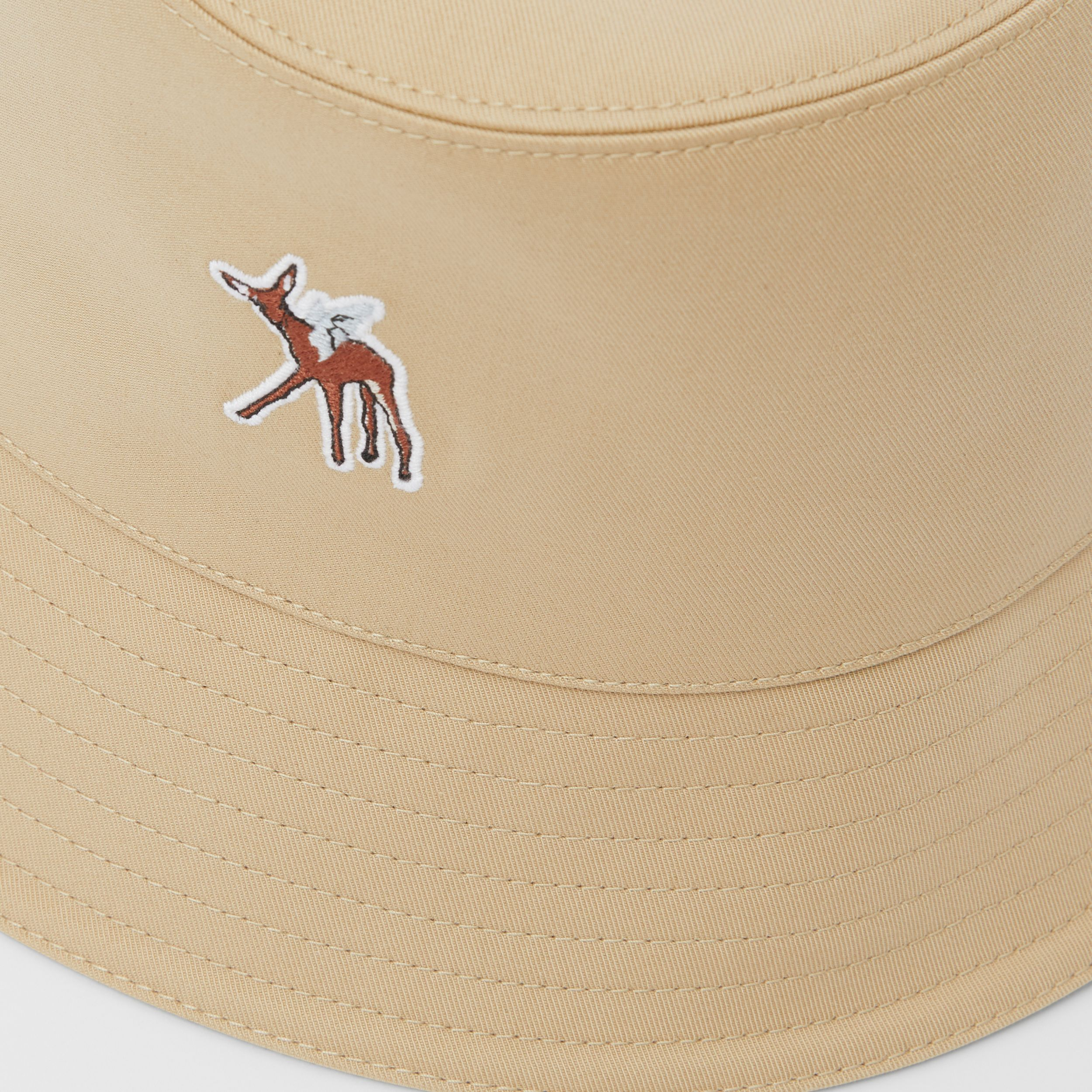 Deer Motif Cotton Bucket Hat in Honey | Burberry Canada - 2