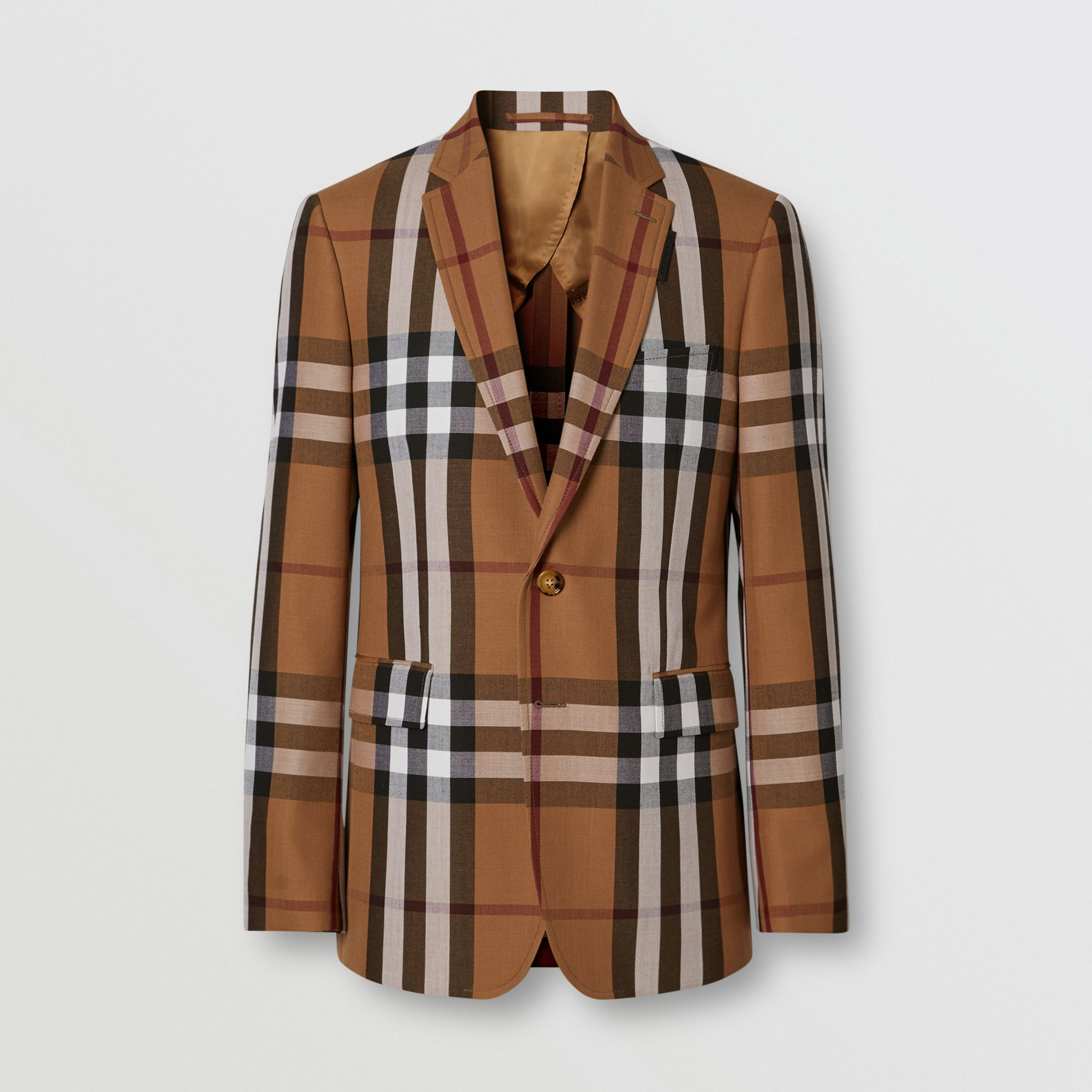 Slim Fit Check Wool Tailored Jacket in Birch Brown - Men | Burberry - 4