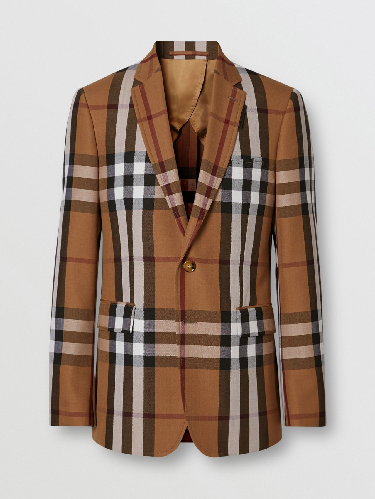 Slim Fit Check Wool Tailored Jacket in Birch Brown