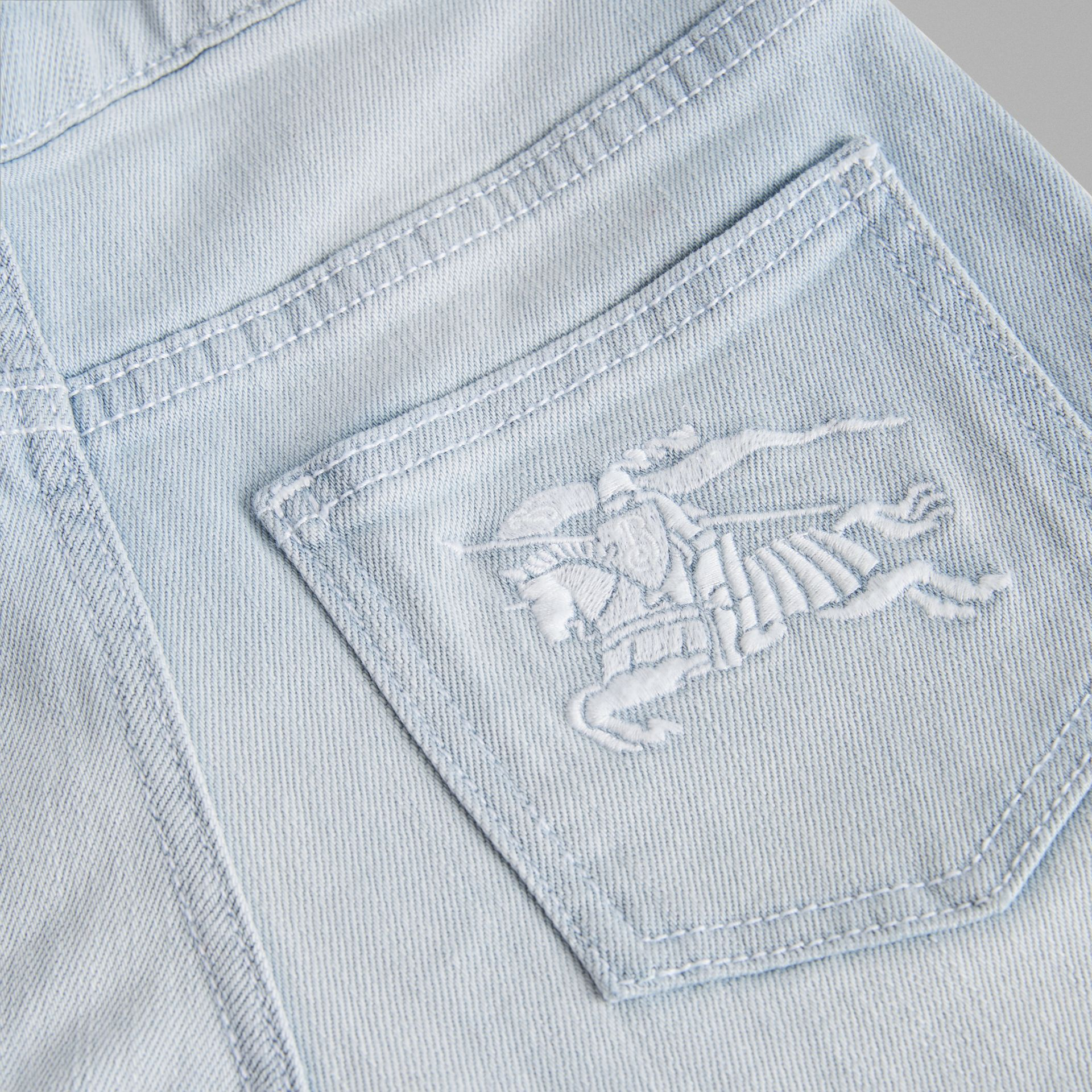 Relaxed Fit Bleached Jeans in Light Blue | Burberry - gallery image 1