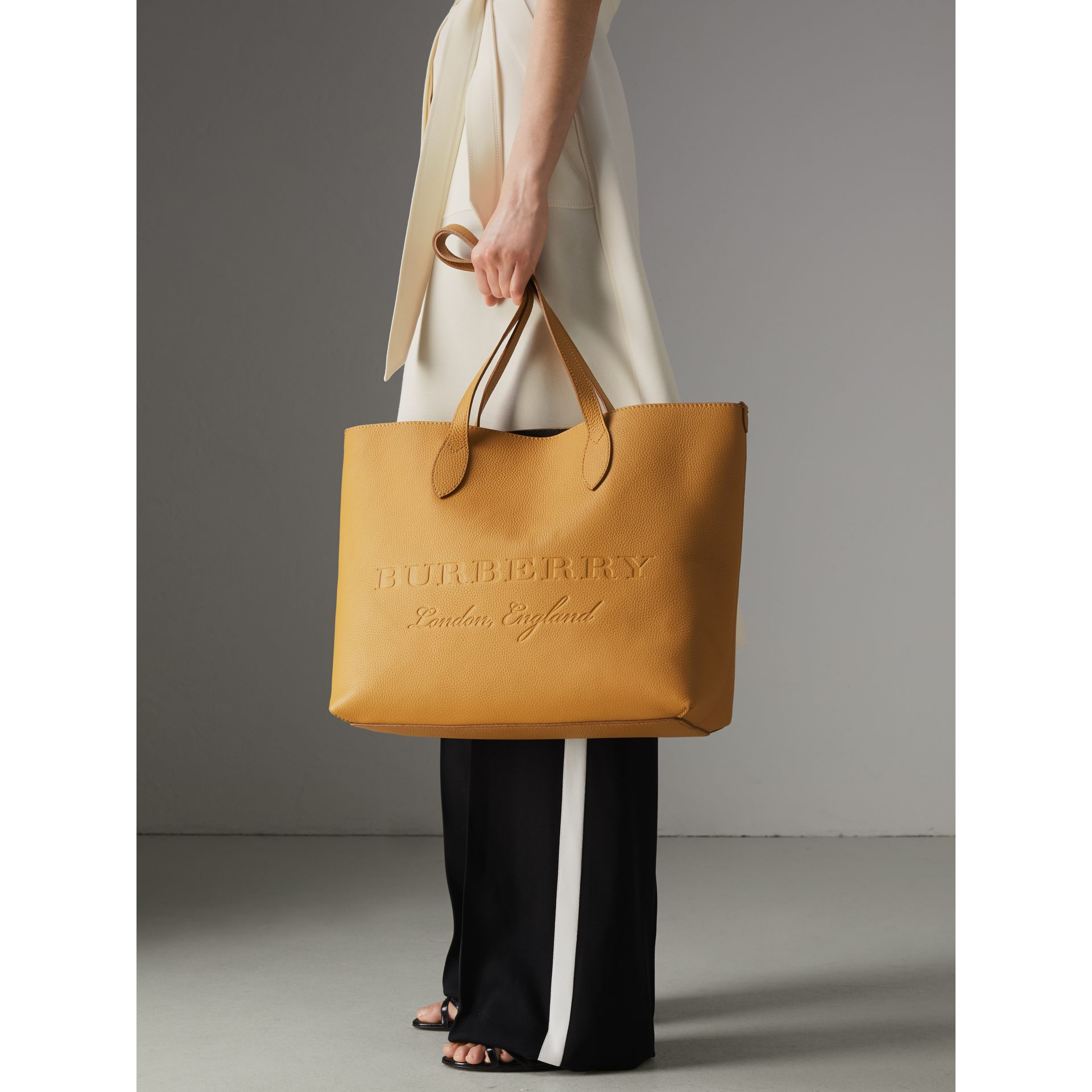 Embossed Leather Tote in Ochre Yellow | Burberry United Kingdom - gallery image 3
