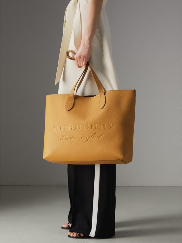 Embossed Leather Tote in Ochre Yellow | Burberry - cell image 3