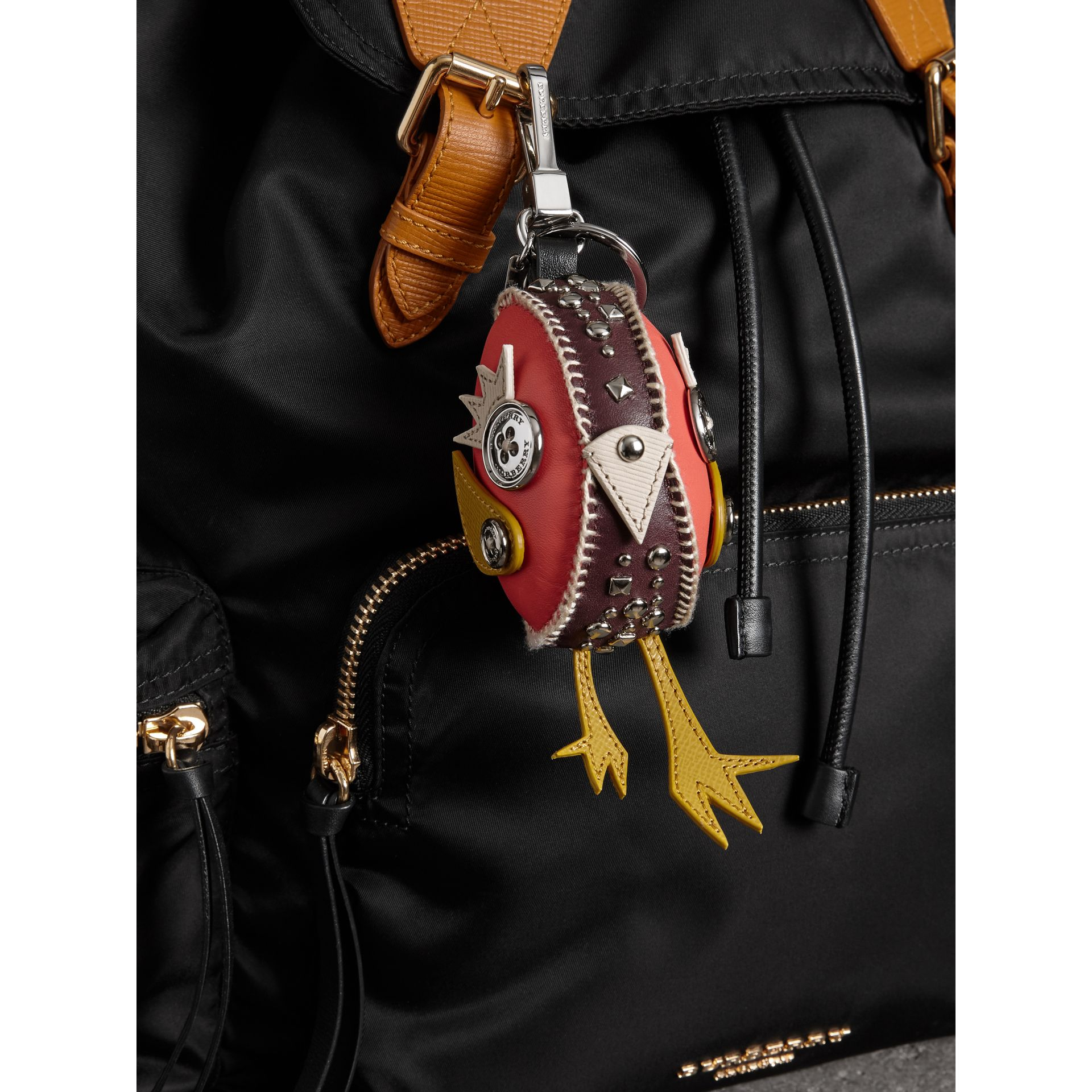 Derek The Bird Leather Charm in Deep Claret - Women | Burberry - gallery image 2