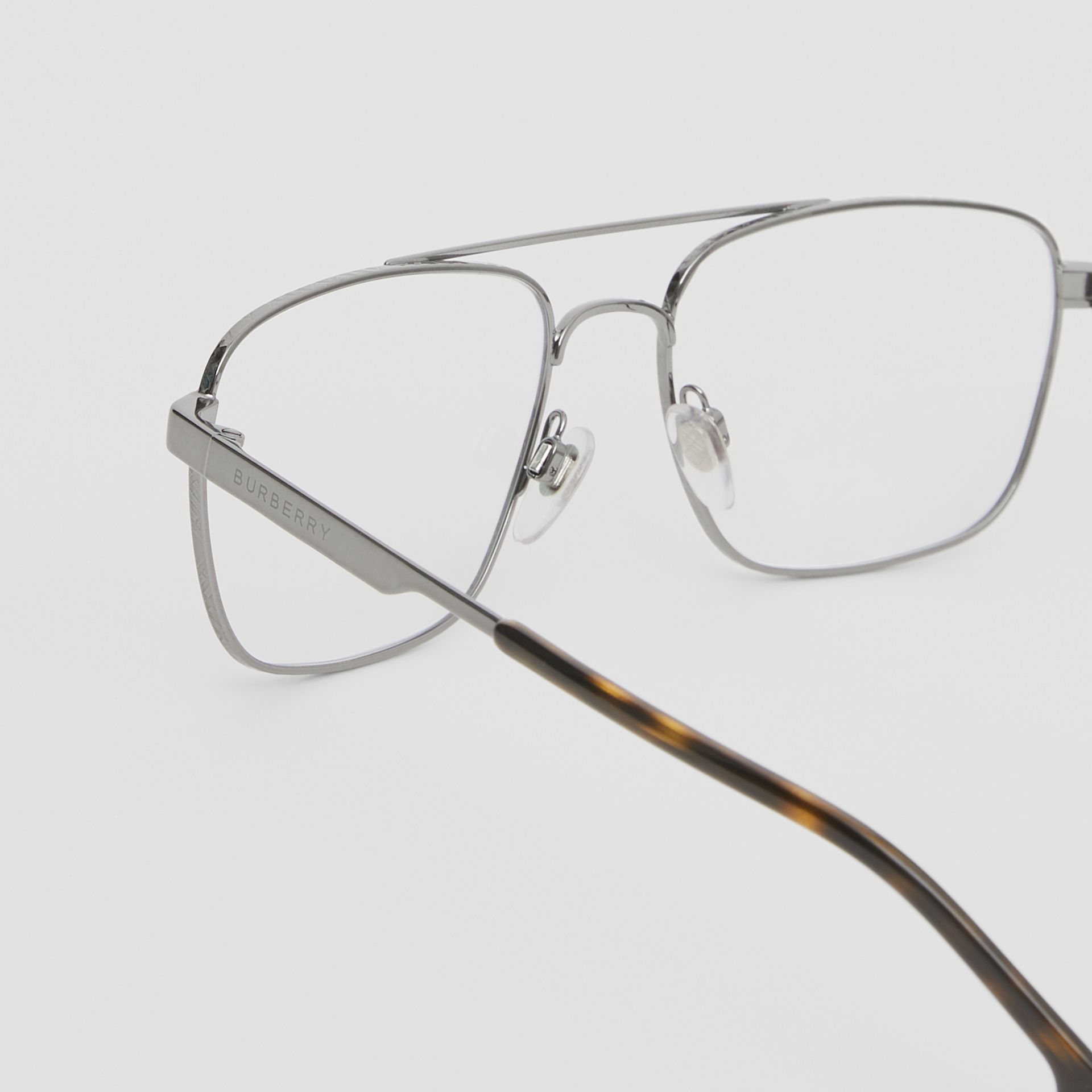 Rectangular Navigator Optical Frames in Dark Grey | Burberry - gallery image 1