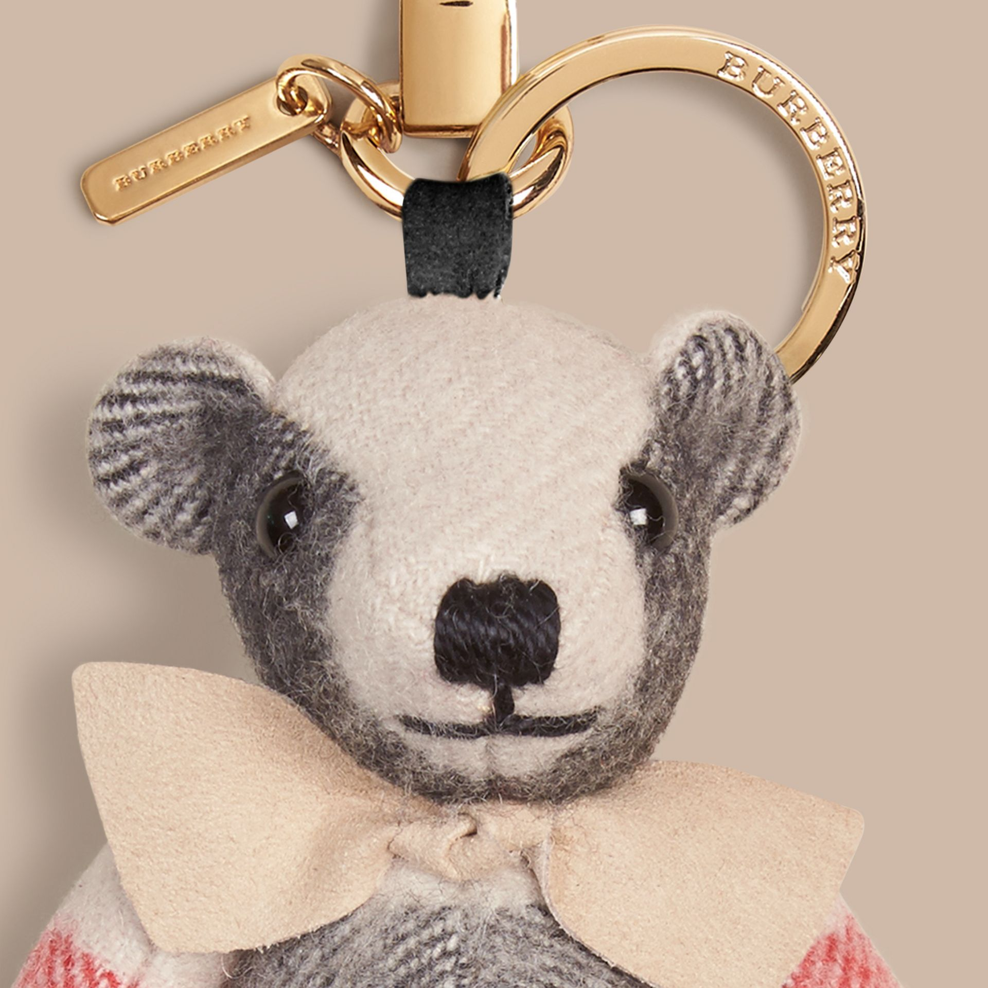 Thomas Bear Charm in Check Cashmere in Stone - gallery image 2