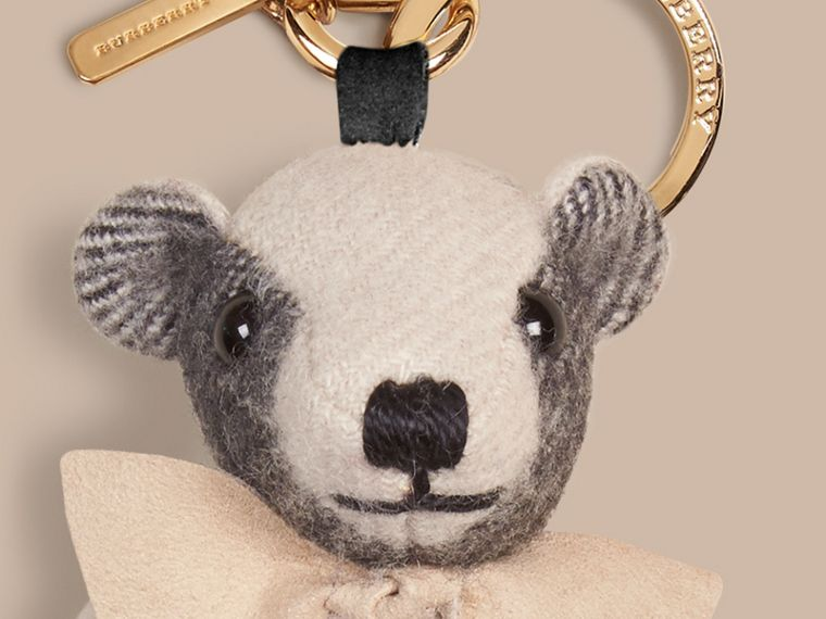 Thomas Bear Charm in Check Cashmere in Stone | Burberry - cell image 1