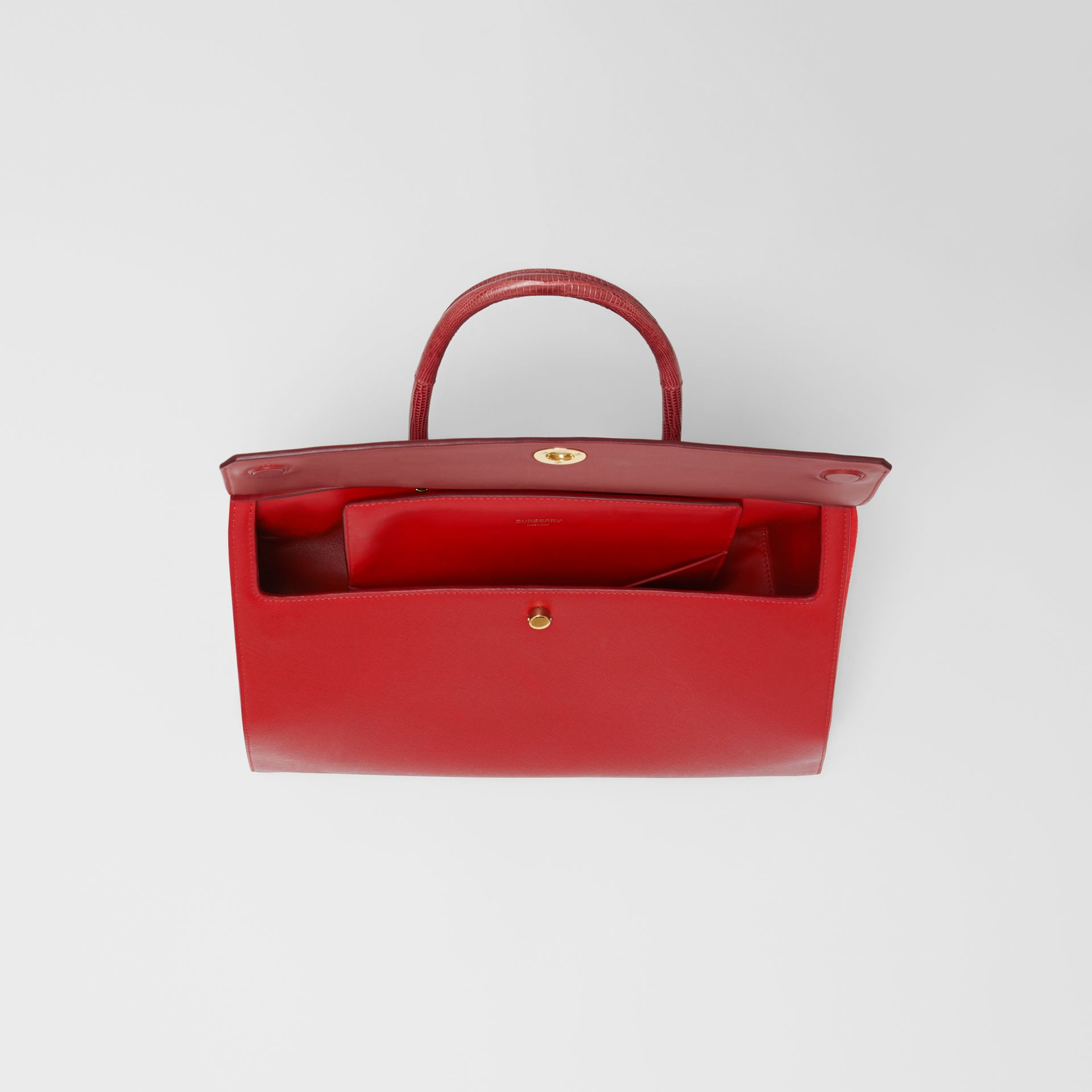 Small Leather and Suede Elizabeth Bag in Bright Military Red - Women | Burberry - gallery image 3