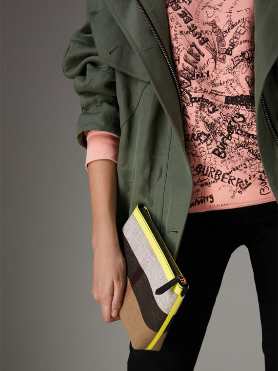 Medium Check Canvas and Leather Zip Pouch in Black/neon Yellow - Women | Burberry Canada - cell image 3