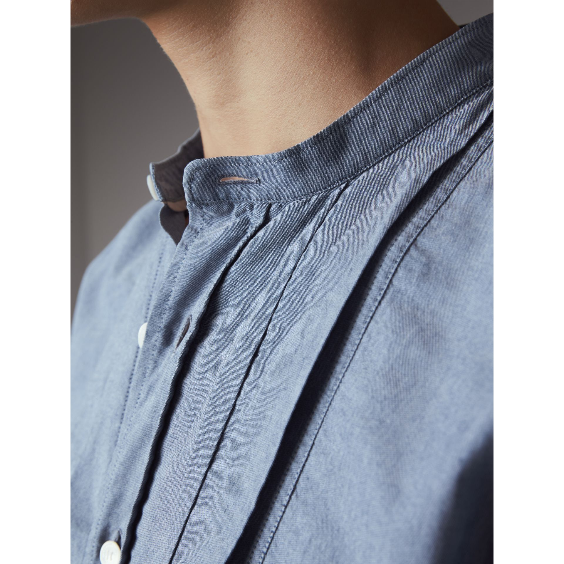 Grandad Collar Pleated Bib Cotton Shirt in Denim Blue - Men | Burberry Australia - gallery image 2