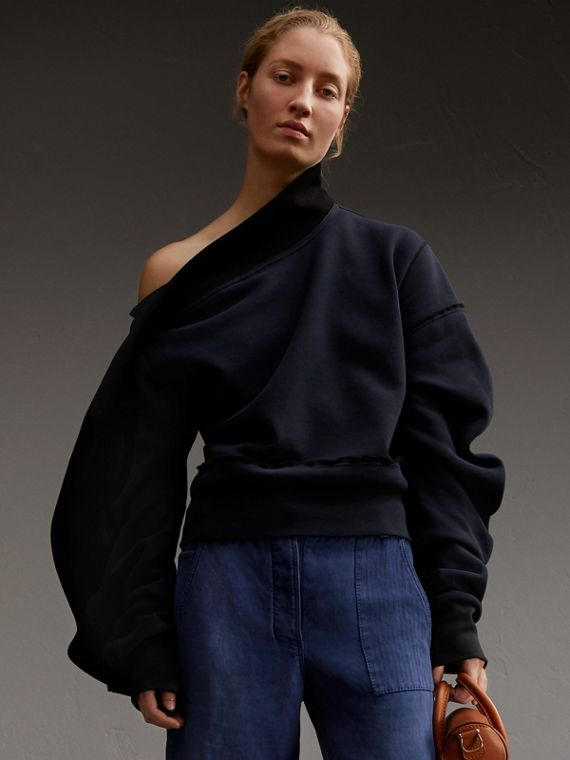 Sculptured-sleeve Asymmetric Sweatshirt Navy