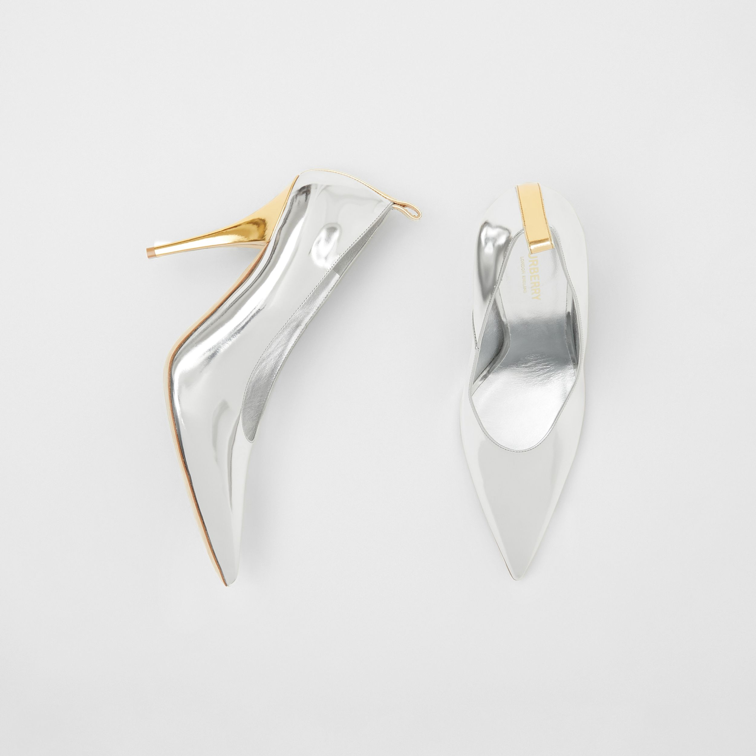 Two-tone Metallic Leather Pumps in Silver/gold - Women | Burberry - 1
