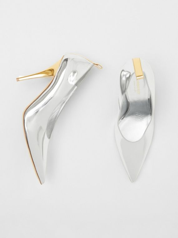 Two-tone Metallic Leather Pumps in Silver/gold