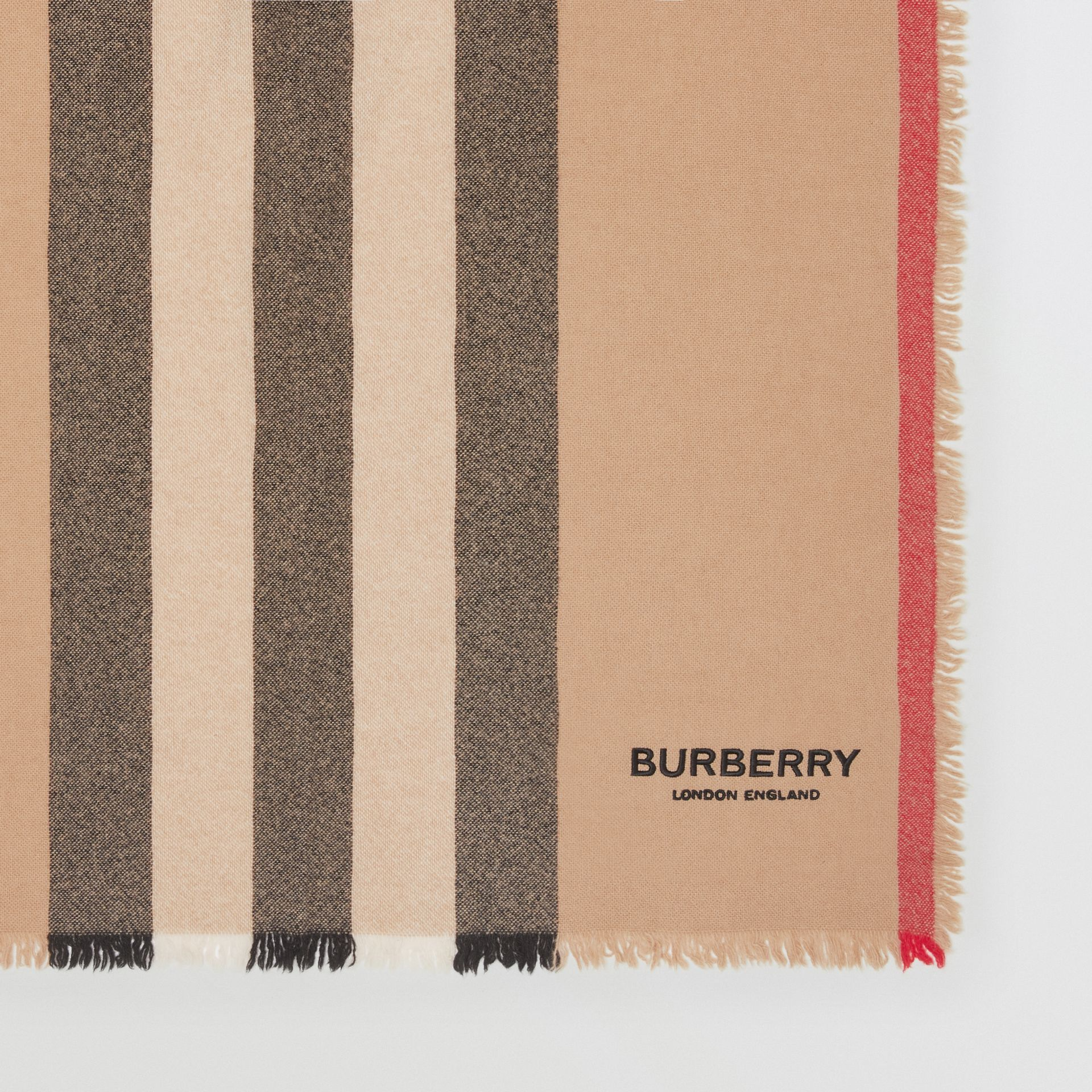 Icon Stripe Wool Cashmere Scarf in Camel | Burberry Canada - gallery image 1