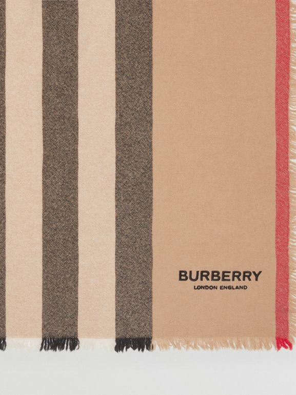 Icon Stripe Wool Cashmere Scarf in Camel | Burberry - cell image 1