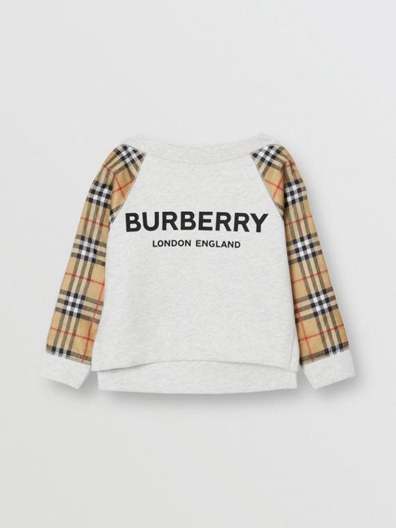 Vintage 格紋標誌印花棉質運動衫 (混合白)