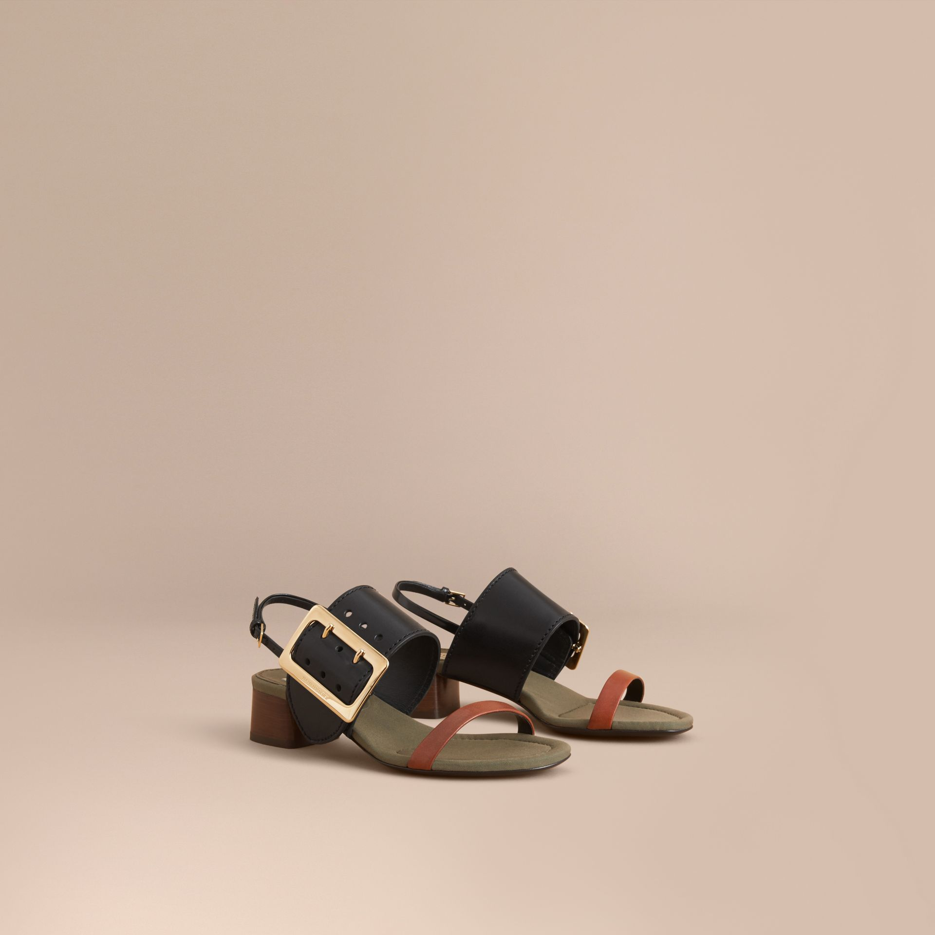Buckle Detail Leather Mid-heel Sandals - Women | Burberry - gallery image 1