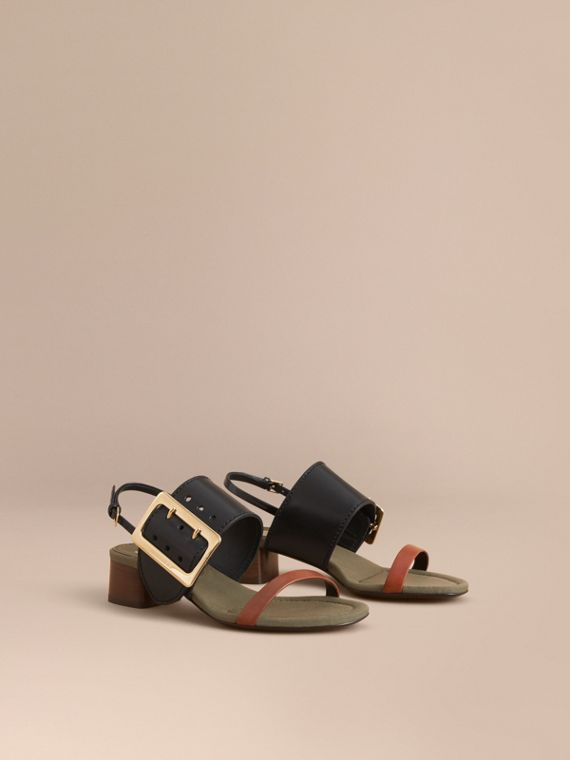 Buckle Detail Leather Mid-heel Sandals - Women | Burberry