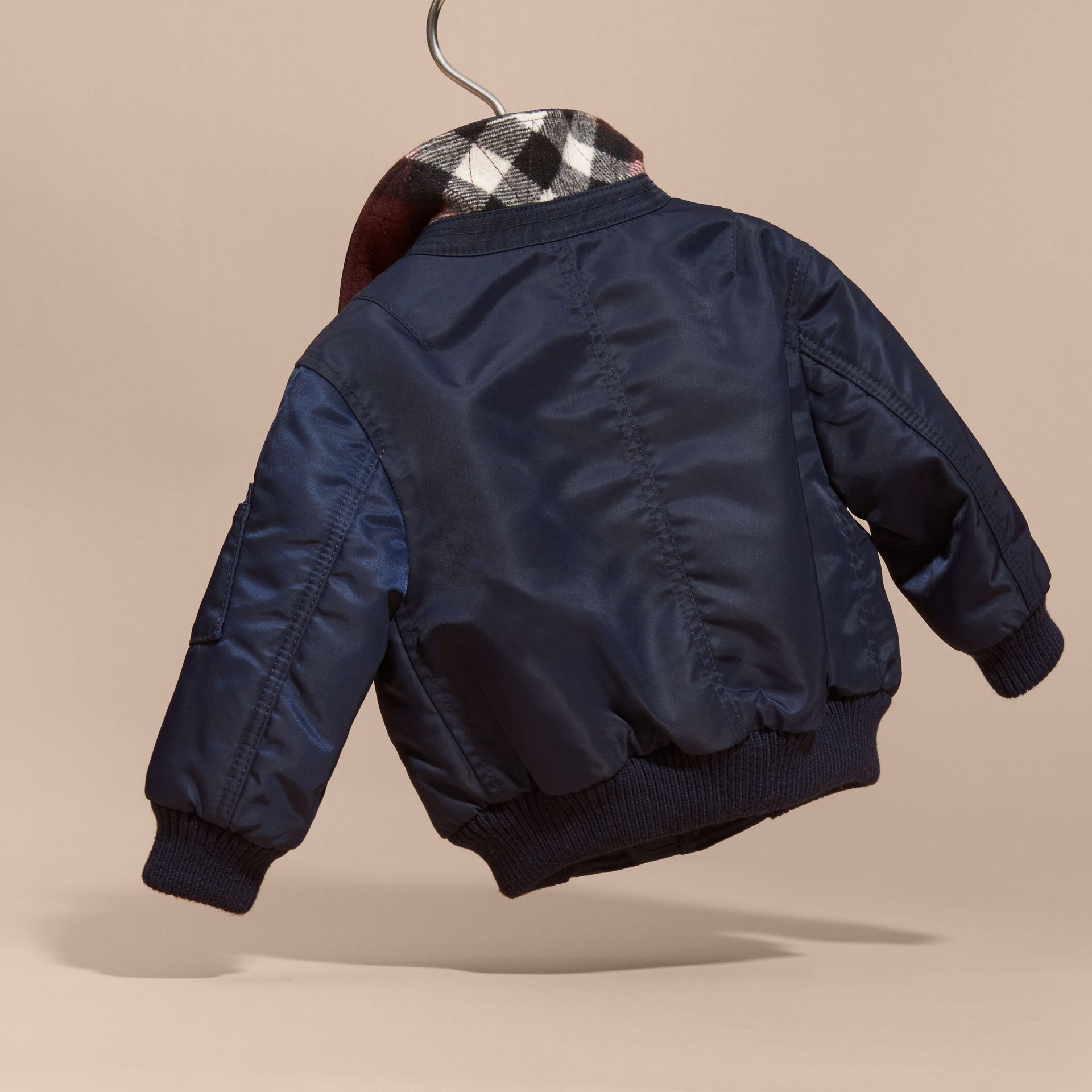 Navy Nylon and Check Wool Cashmere Bomber Jacket - gallery image 4