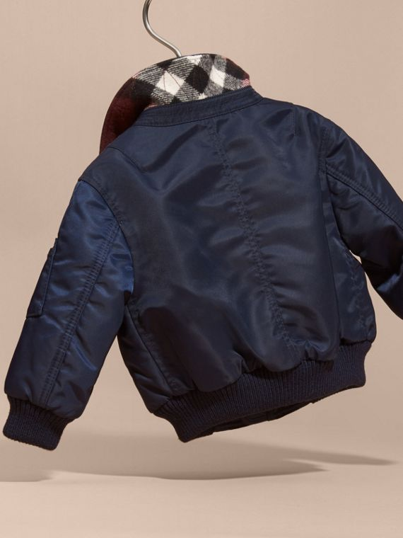 Navy Nylon and Check Wool Cashmere Bomber Jacket - cell image 3