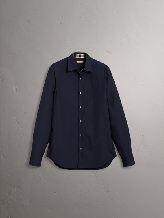Check Detail Stretch Cotton Poplin Shirt in Navy