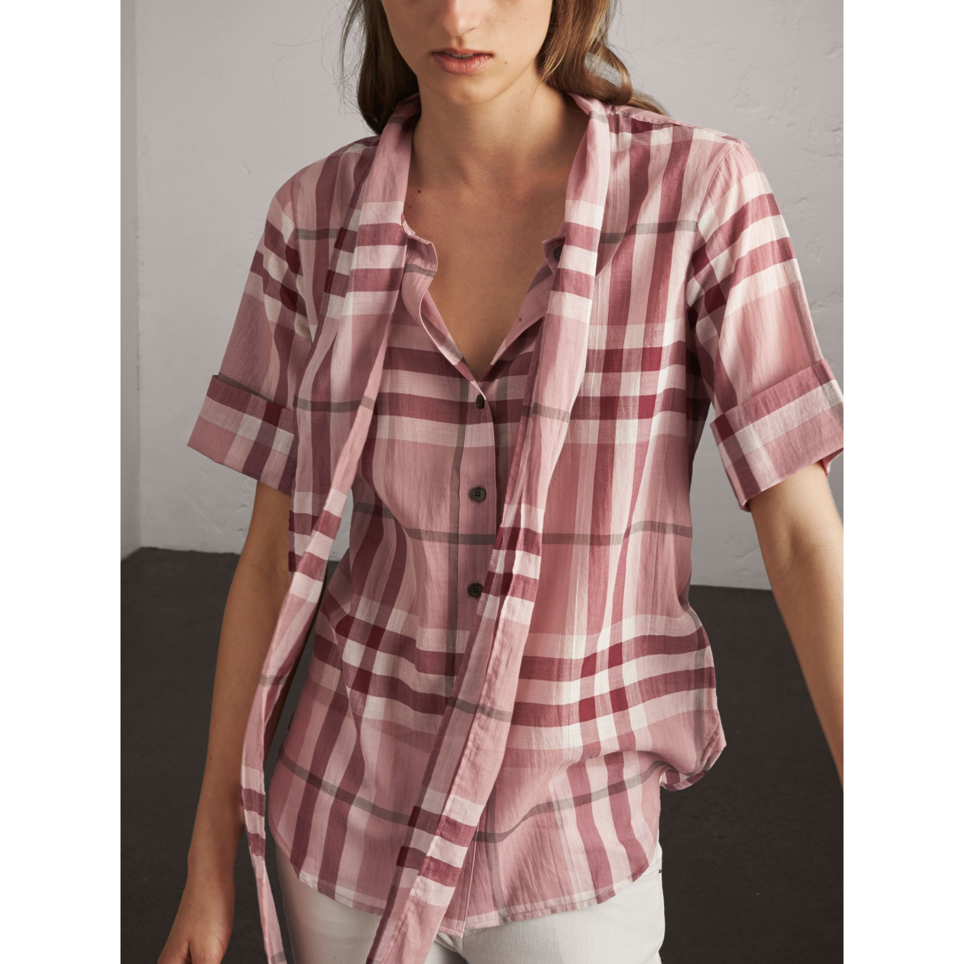 Short-sleeve Check Cotton Tie Neck Shirt in Antique Pink - Women | Burberry - gallery image 7
