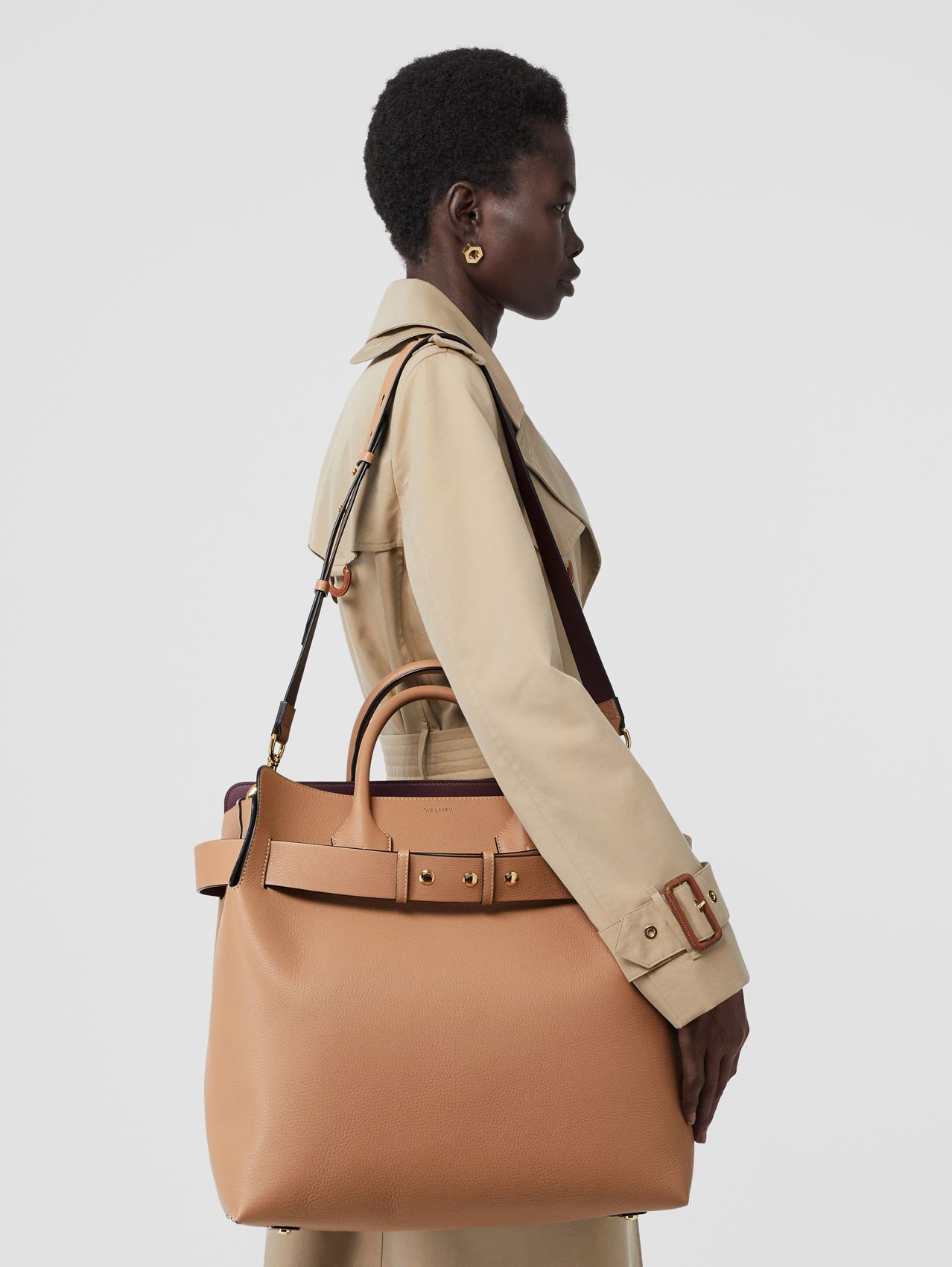 The Large Leather Triple Stud Belt Bag (Light Camel)