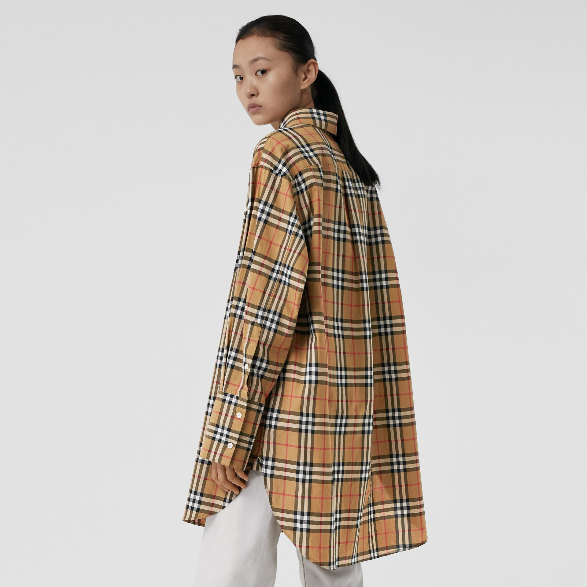 Vintage Check Cotton Oversized Shirt in Antique Yellow - Women | Burberry - gallery image 2