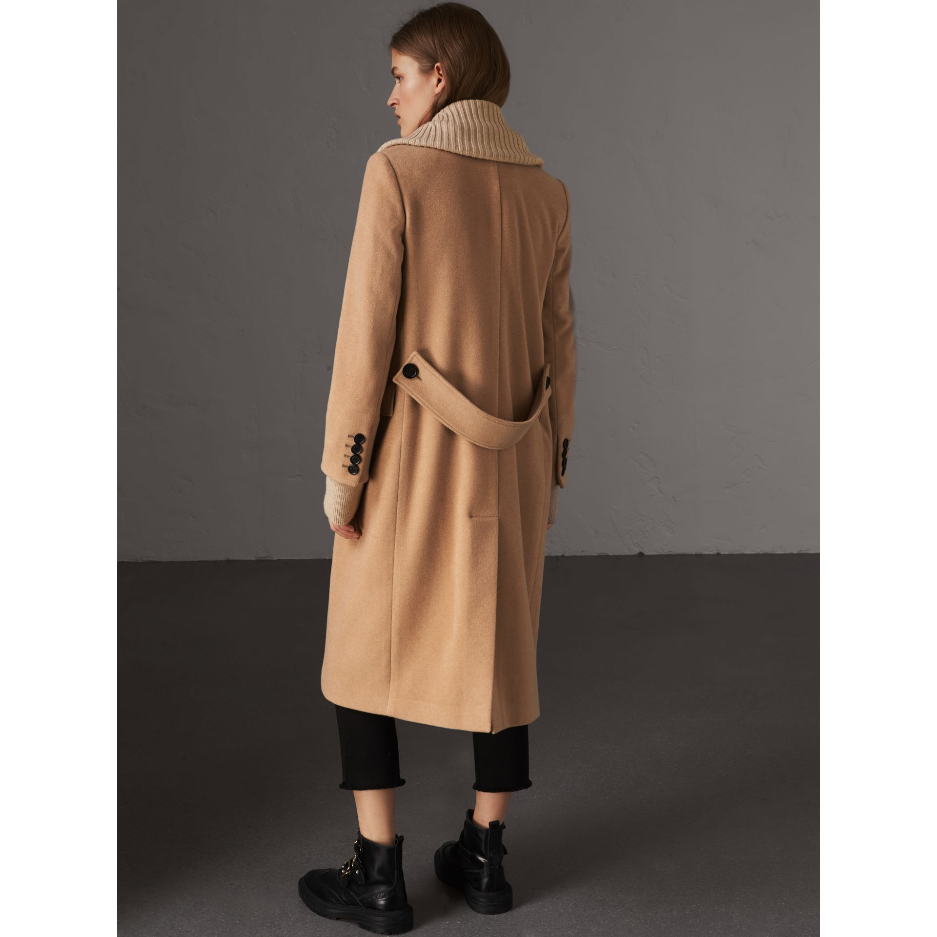 Detachable Rib Knit Collar Cashmere Coat in Camel - Women | Burberry - gallery image 3