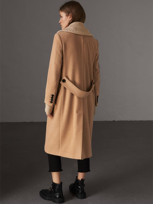 Detachable Rib Knit Collar Cashmere Coat in Camel - Women | Burberry - cell image 2