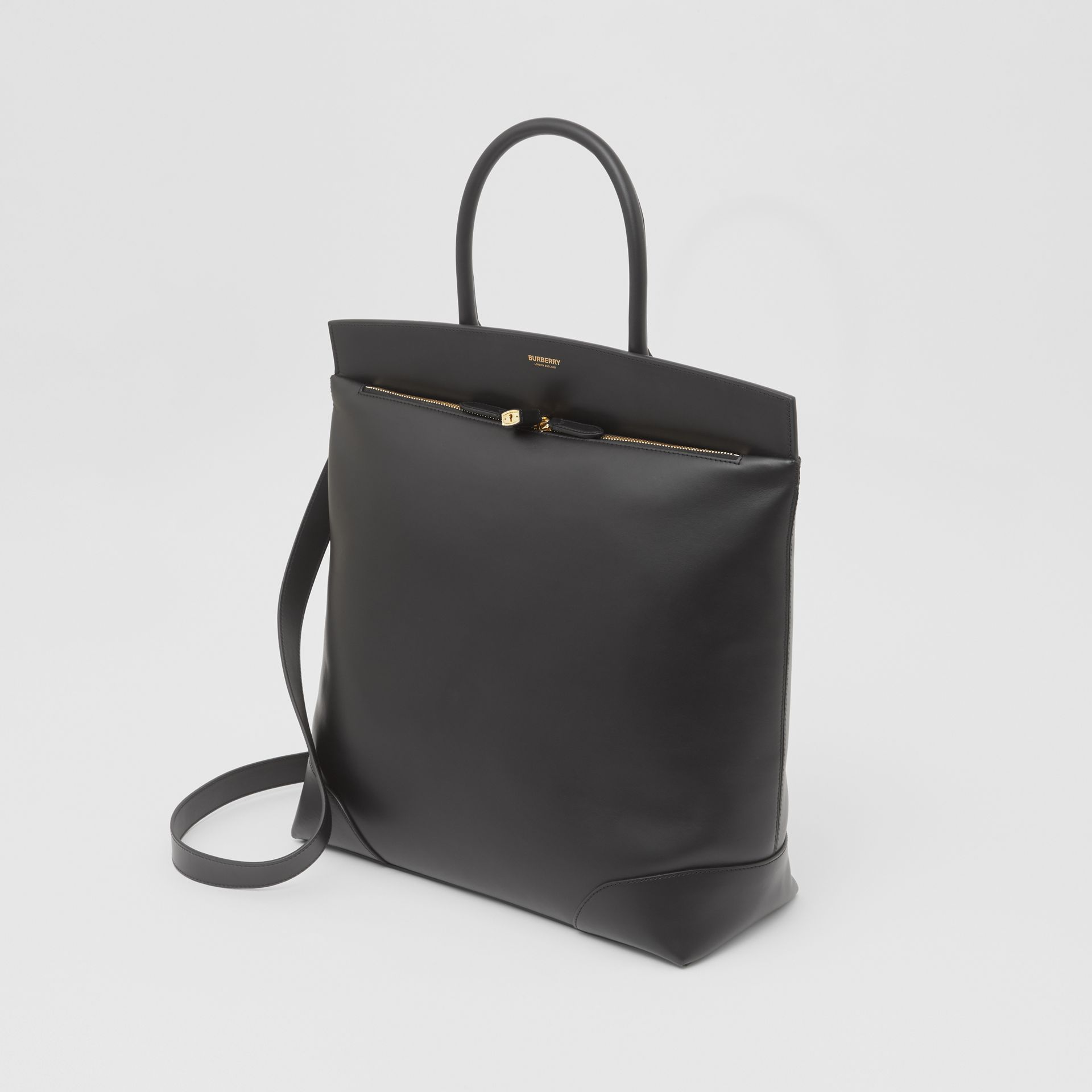 Leather Portrait Society Tote in Black - Men | Burberry - gallery image 4