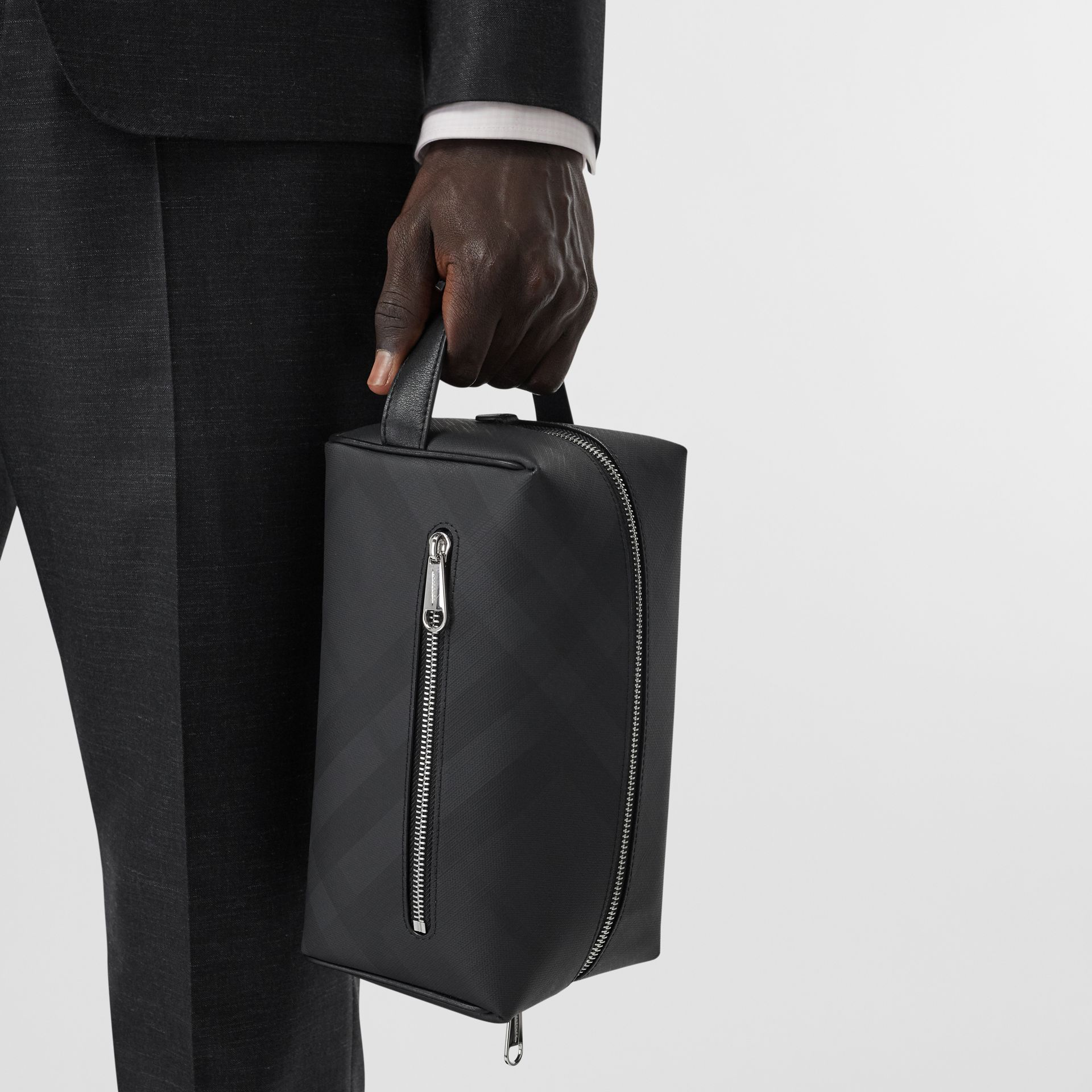 London Check and Leather Travel Pouch in Dark Charcoal - Men | Burberry - gallery image 2