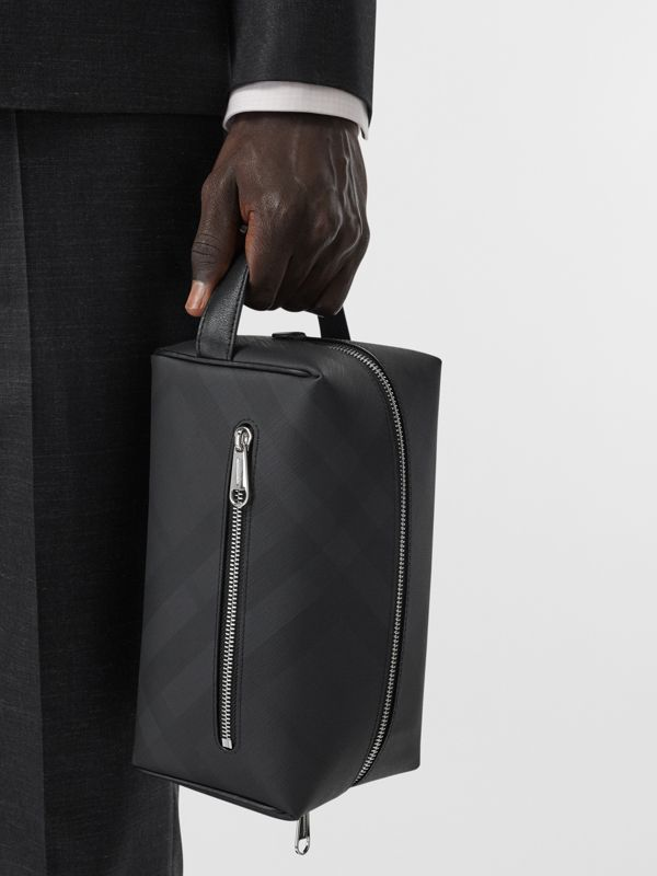 London Check and Leather Travel Pouch in Dark Charcoal - Men | Burberry - cell image 2