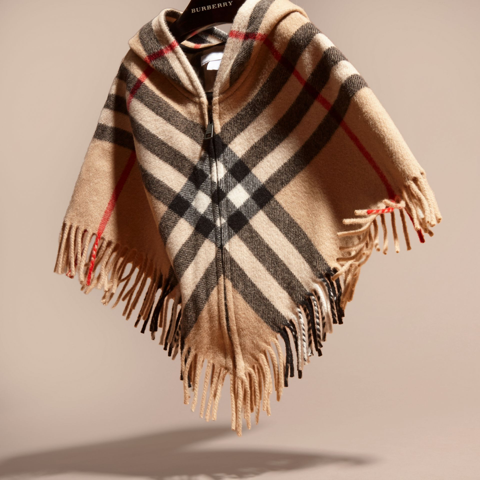 Hooded Check Wool Cashmere Cape - Girl | Burberry - gallery image 3