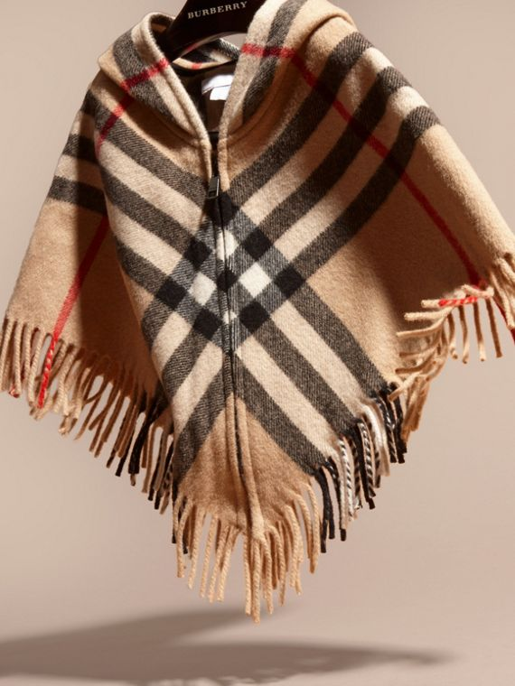 Hooded Check Wool Cashmere Cape - Girl | Burberry - cell image 2
